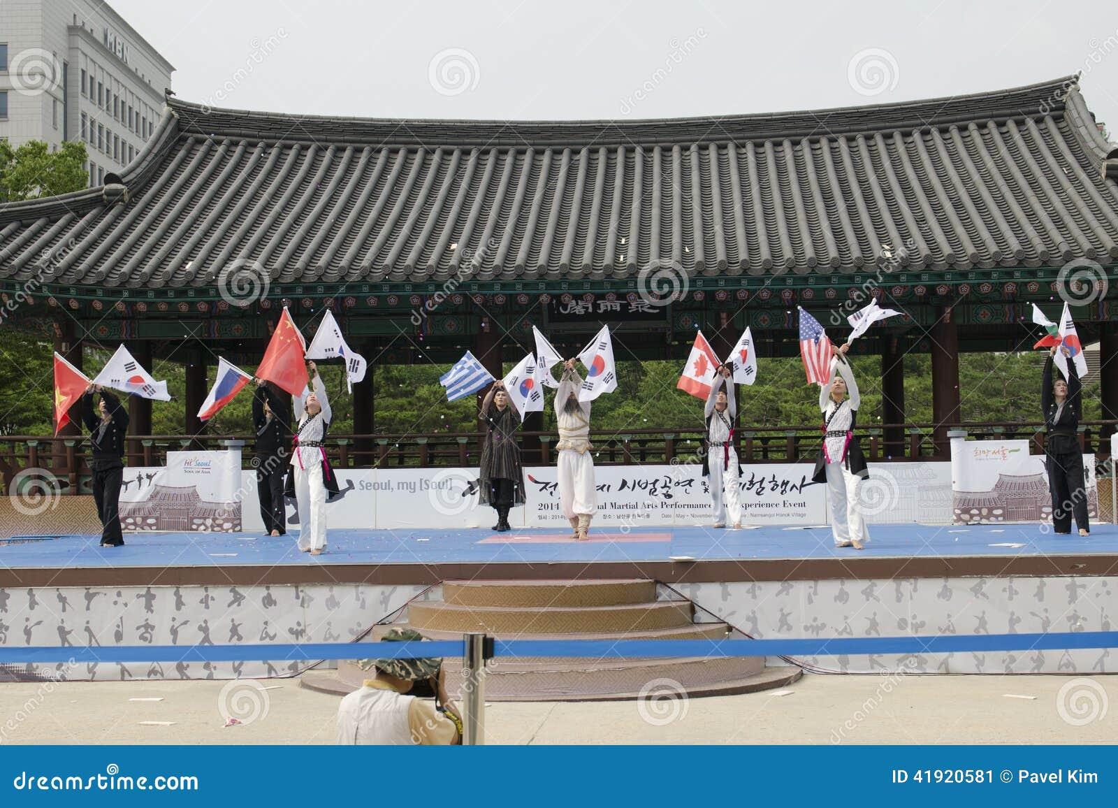 Den traditionella koreanska kampsportkapaciteten och erfarenhetshändelsen visar