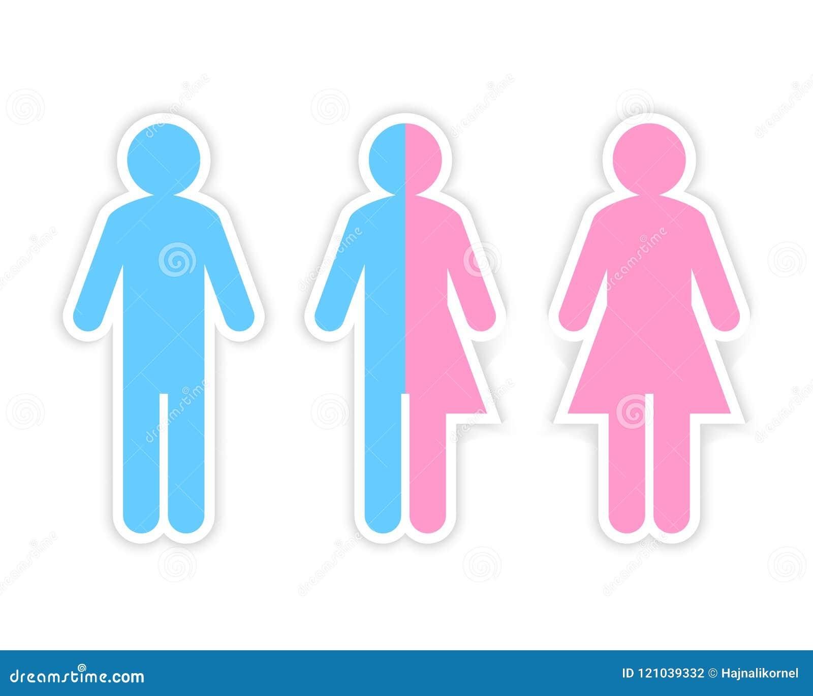 Den tredje genuset och könsbestämmer begreppet som göras av halv man och halv kvinnlig pictogram