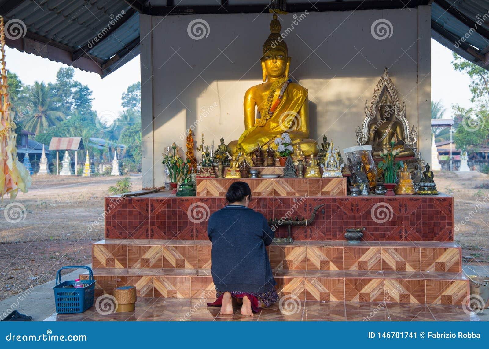 Den trogna buddistiska kvinnan ber i den Akat Amnuai templet, det Sakon Nakhon landskapet, Isan, Thailand