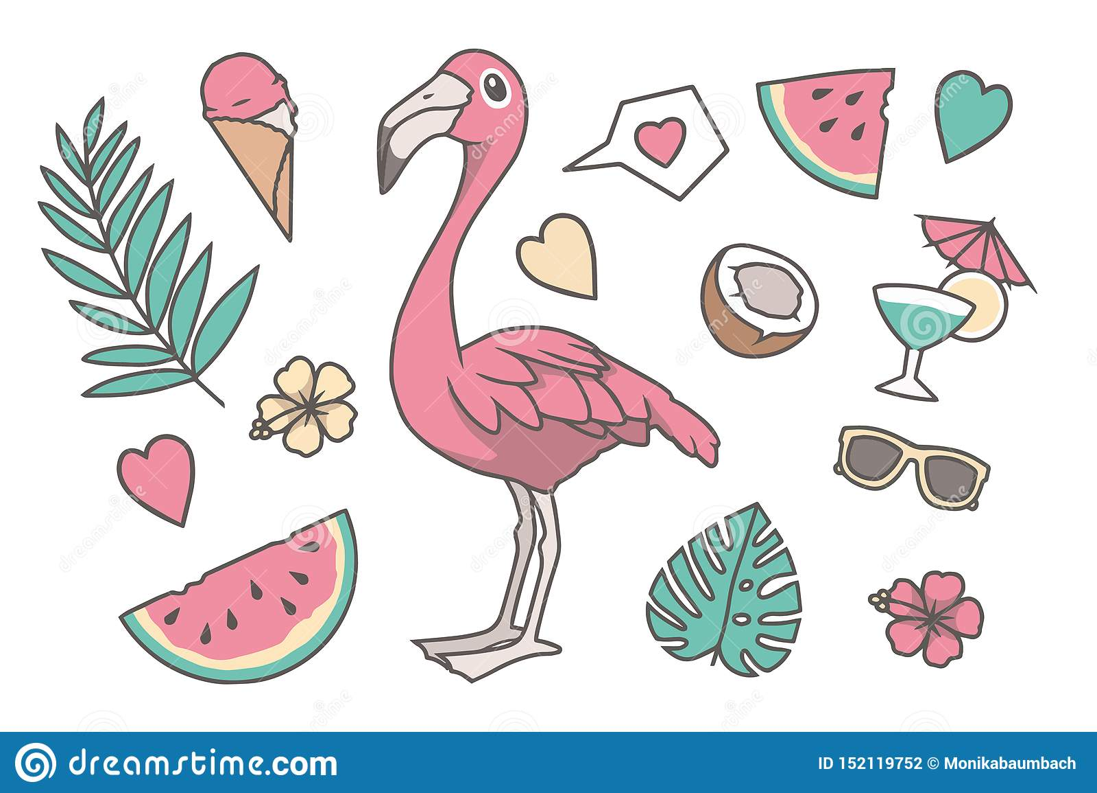 Den tropiska vektorillustrationen ställde in med den gulliga fågeln för flamingo för tecknad filmstilrosa färger, gömma i handfla