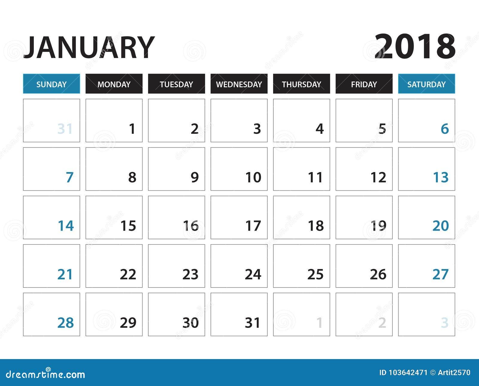 Den tryckbara kalendern för Januari 2018, vecka startar på söndag