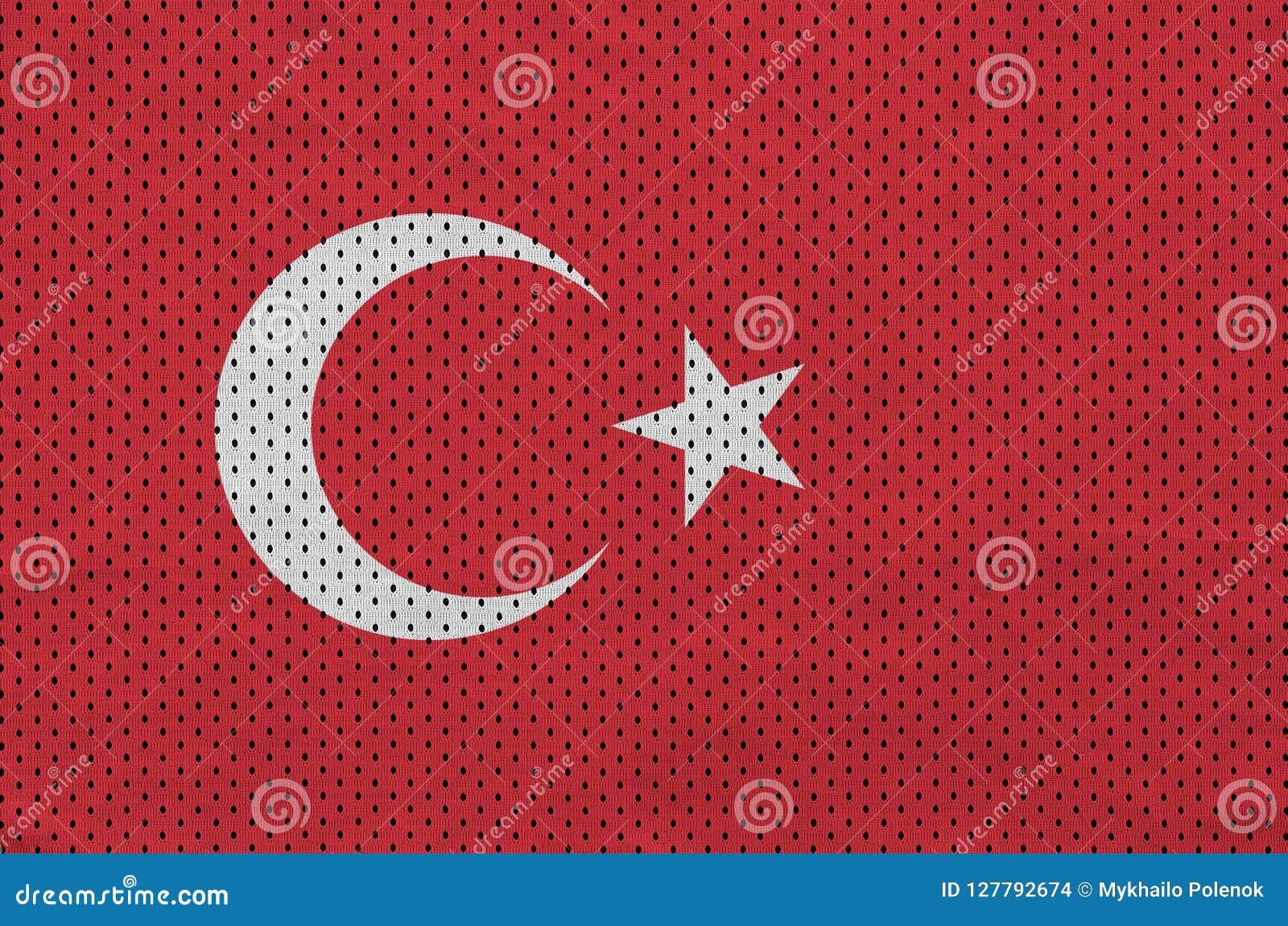 Den Turkiet flaggan skrivev ut på ett tyg för ingrepp för polyesternylonsportswear