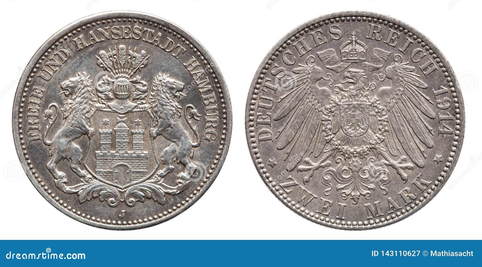 Den tyska väldeHamburg 2 fläcken försilvrar mynttappning 1914