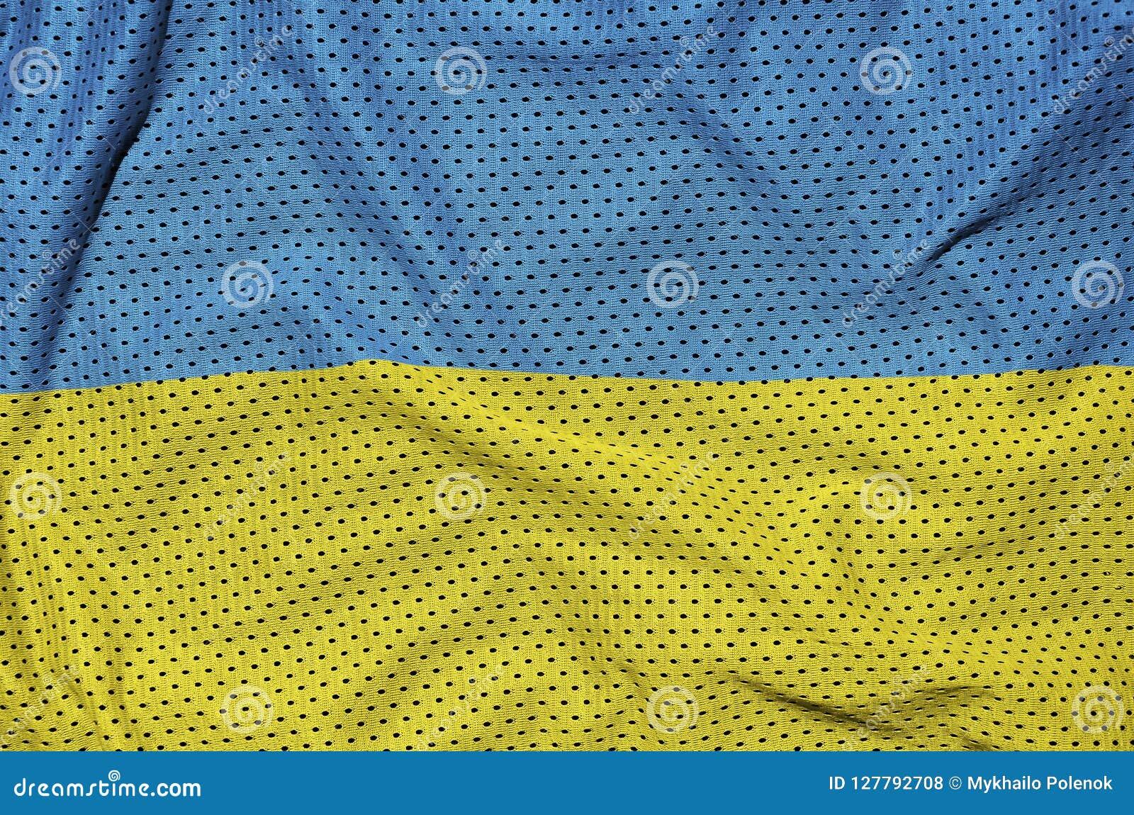 Den Ukraina flaggan skrivev ut på ett tyg för ingrepp för polyesternylonsportswear