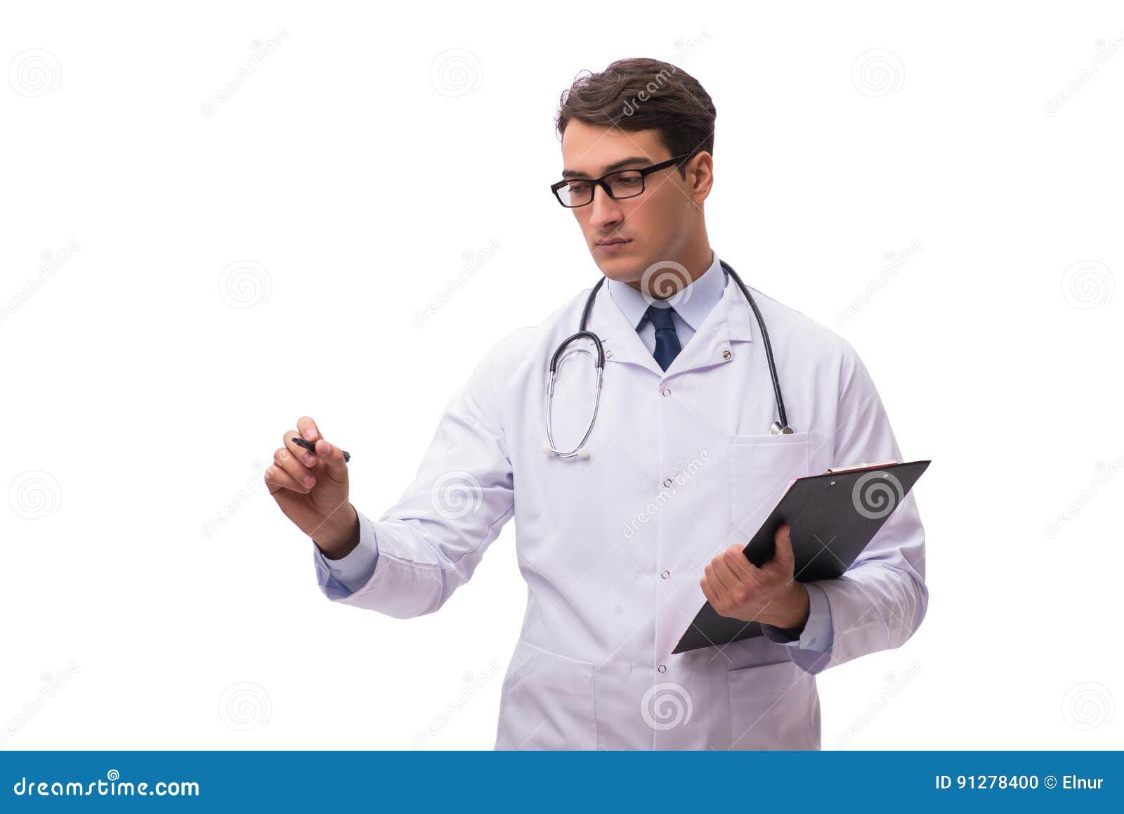 Den unga doktorn som isoleras på vit bakgrund