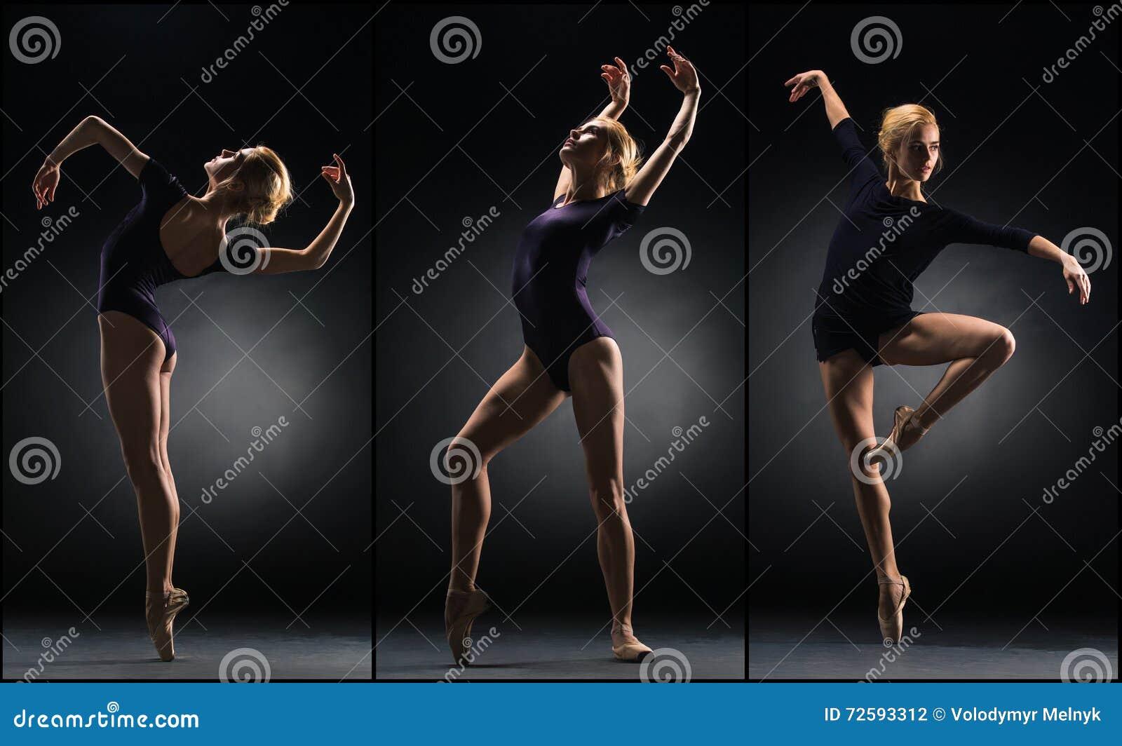 Den unga härliga ballerinadansen på en svart bakgrund collage