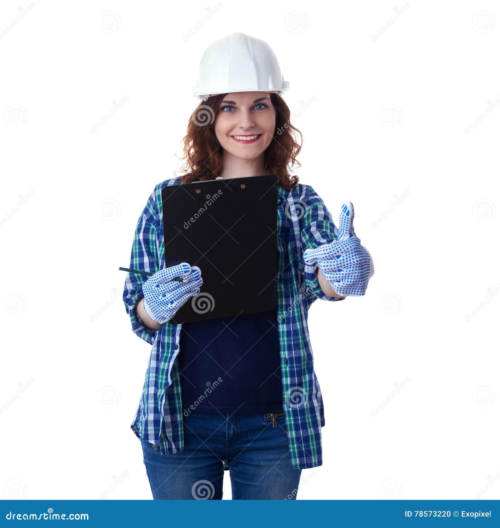 Den unga kvinnan i tillfällig kläder över vit isolerade bakgrund