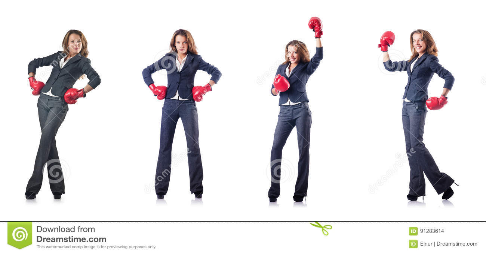 Den unga kvinnan med boxninghandskar som isoleras på vit