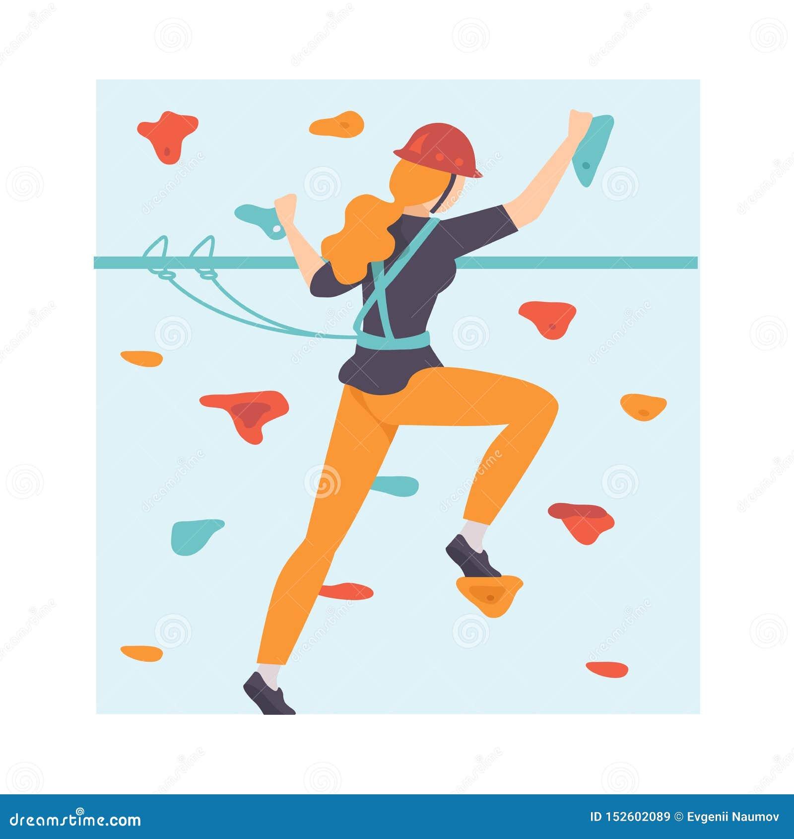 Den unga kvinnan som graderar väggen, kvinnaklättring i affärsföretag, parkerar, hobbyen, extrem sportvektorillustration
