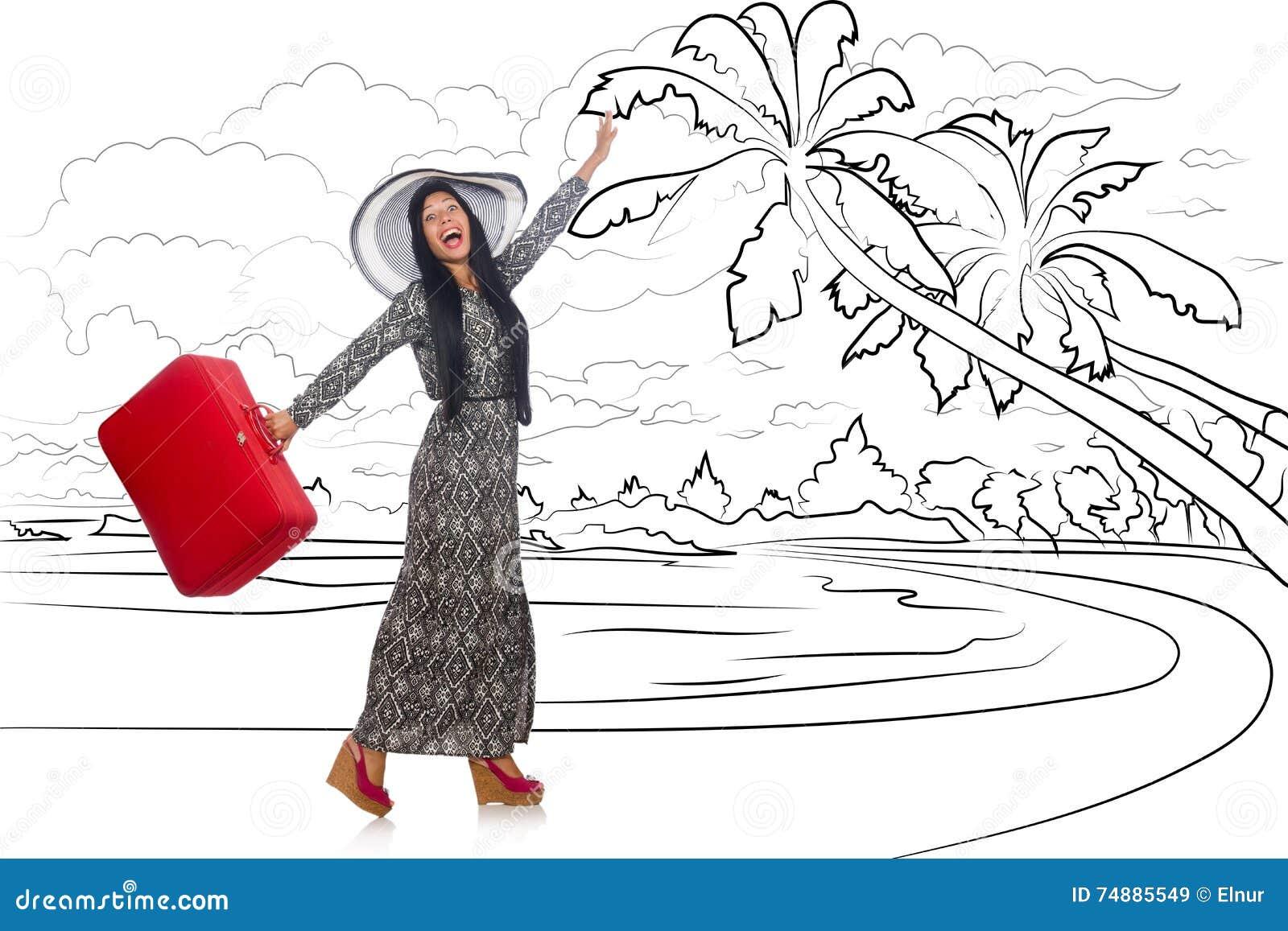 Den unga kvinnan som reser den tropiska ön i loppbegrepp