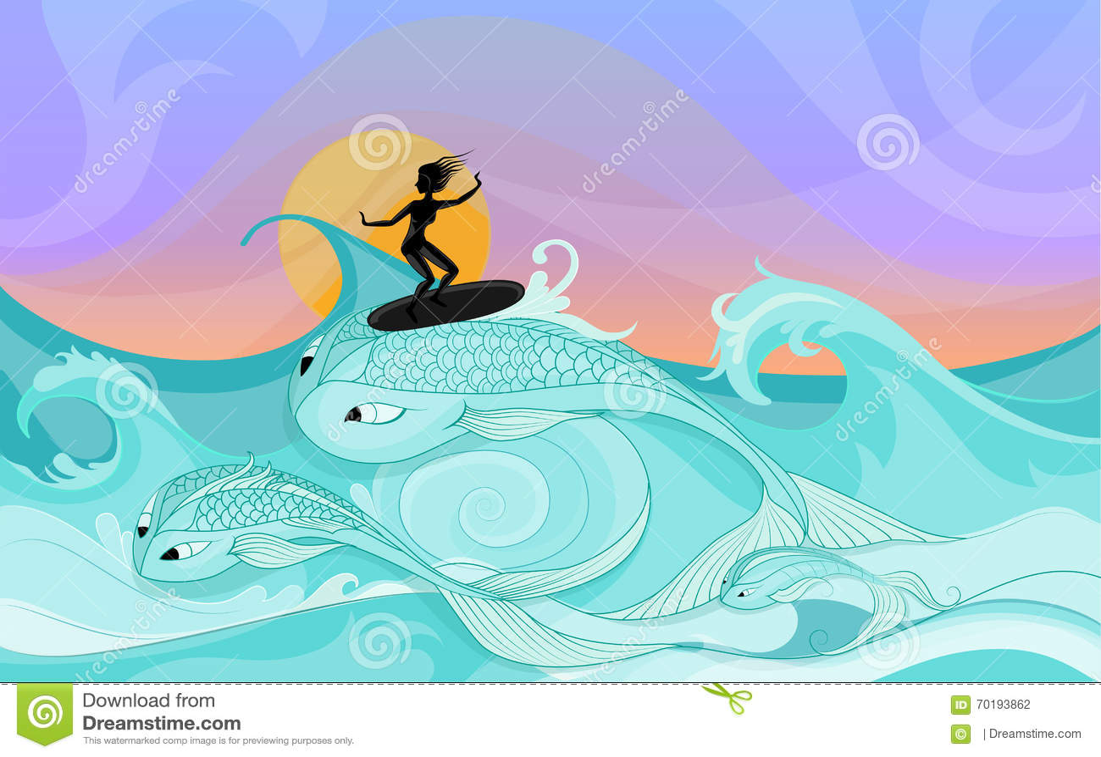 Den unga kvinnliga surfaren rider på stil för tecknad film för havvågor