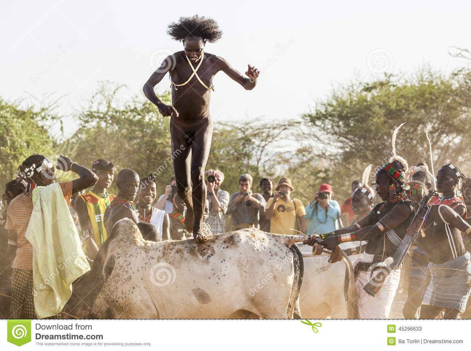Den unga mannen hoppar av tjurarna Turmi Omo dal, Etiopien