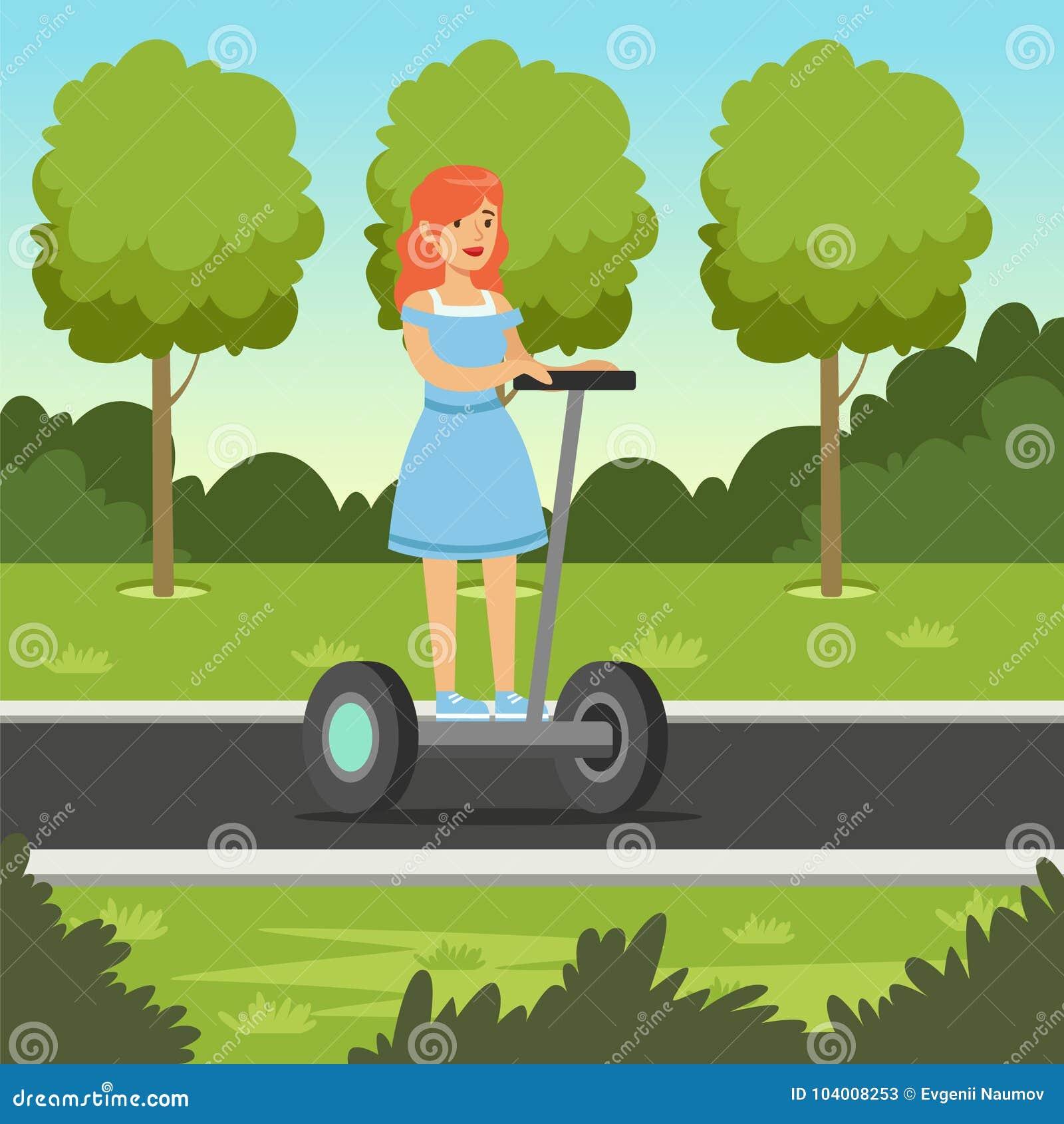 Den unga rödhårig mankvinnaridningen på den segway sparkcykeln i stad parkerar, för hjulmedlet för elkraft två illustrationen för