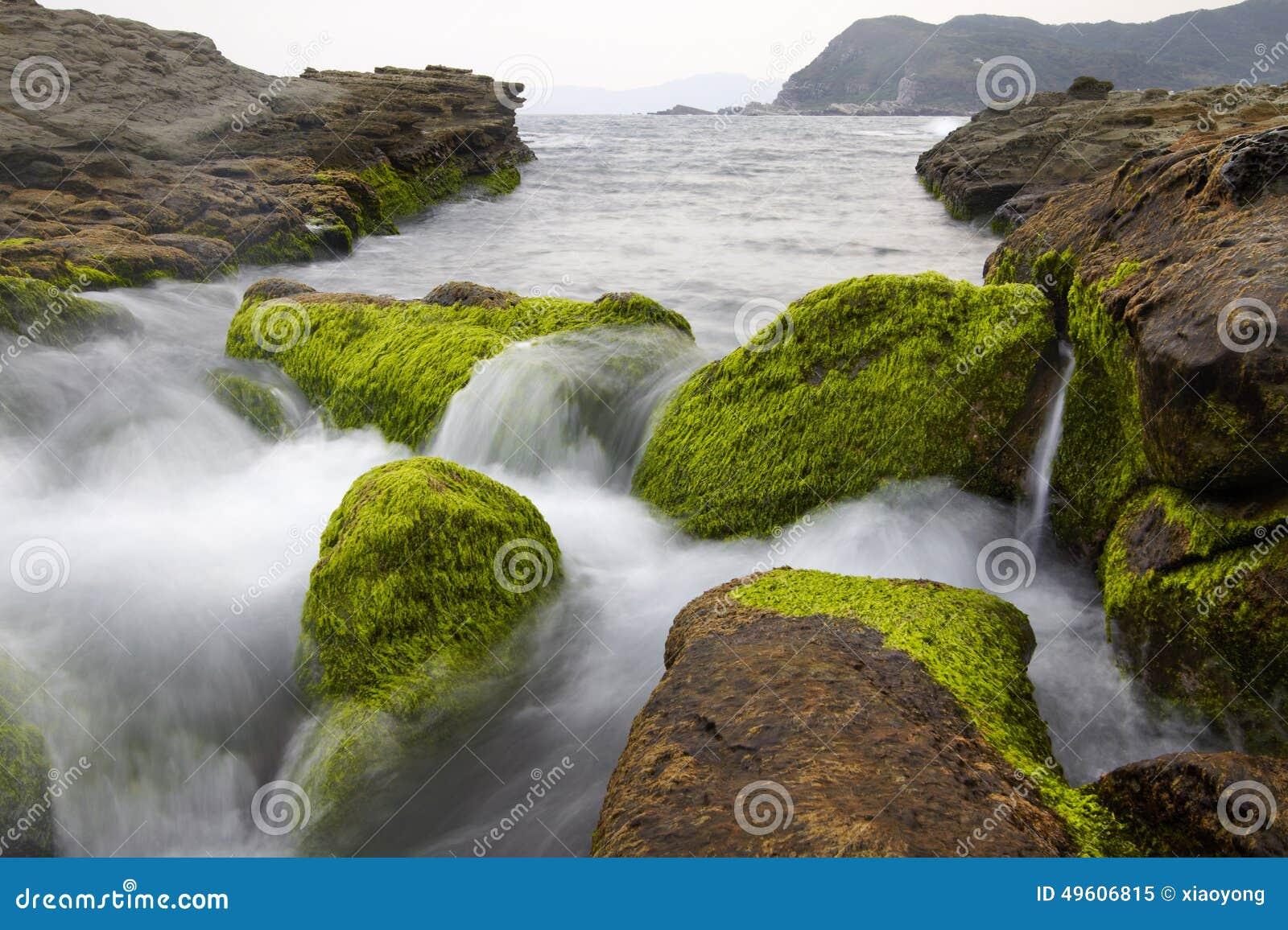 Den unika landformen och det stora landskapet av den Taiwan norrkusten