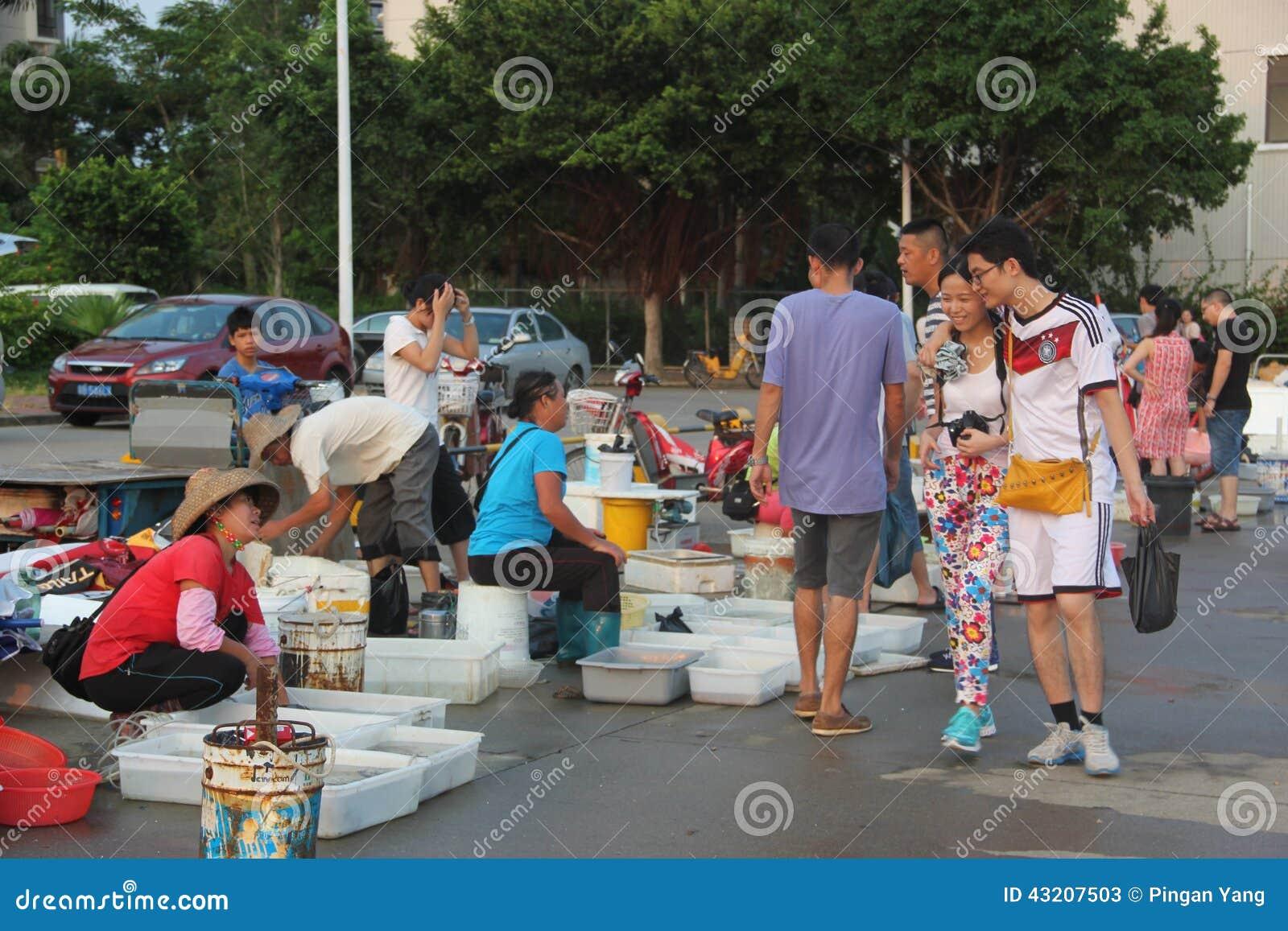 Download Den Utomhus- Havs- Marknaden I Shekoufiskeport Redaktionell Arkivfoto - Bild av utomhus, porslin: 43207503