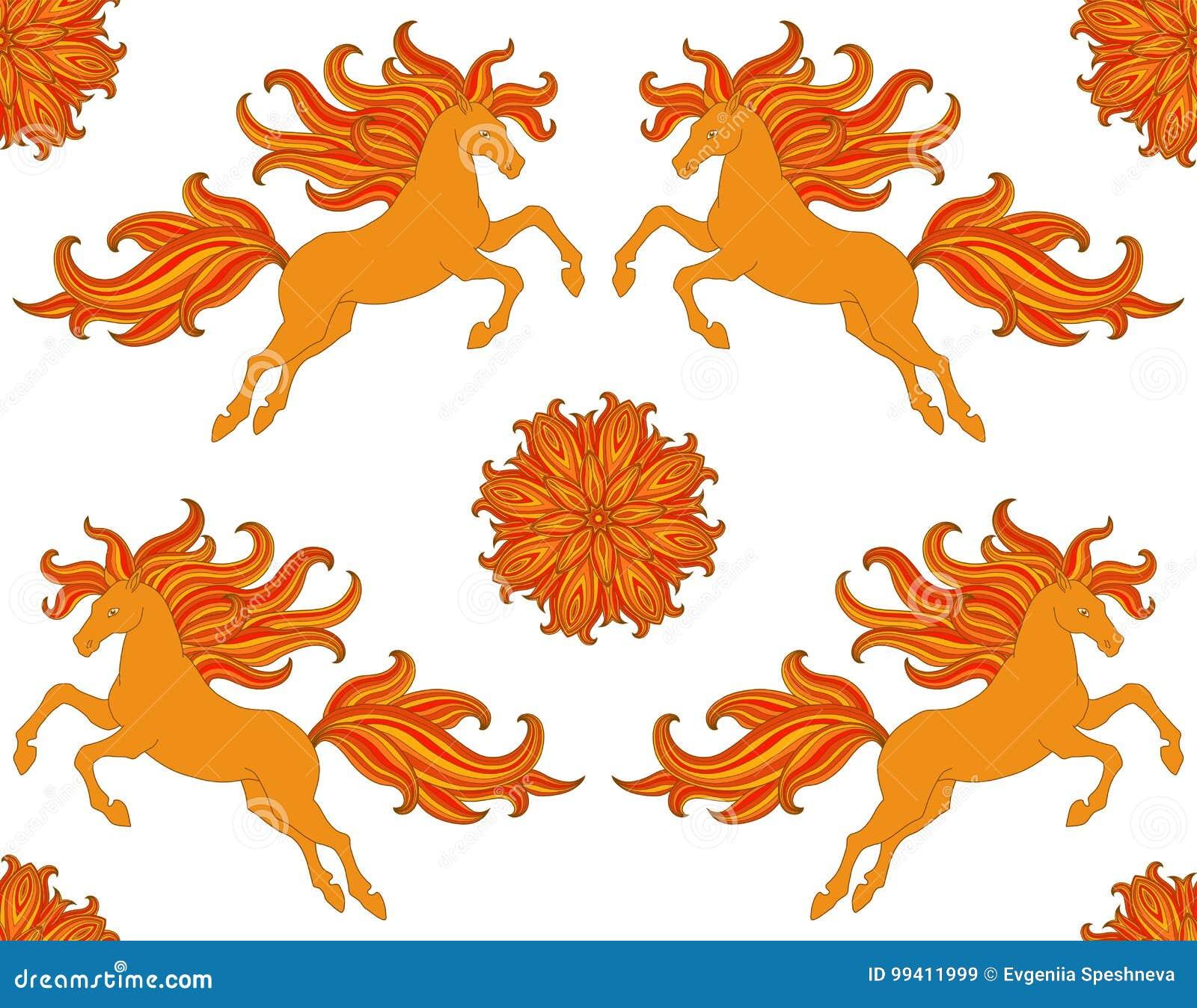 Den utsmyckade sömlösa modellen med stiliserade hästar och blommor i boho utformar Vektordesign för tyg, rengöringsduk som skriva