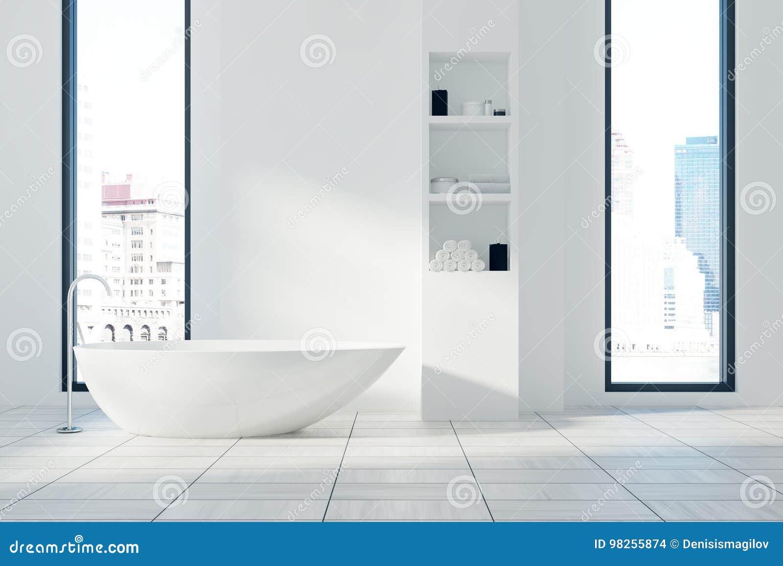 Den vita badruminre, badar och hyllor