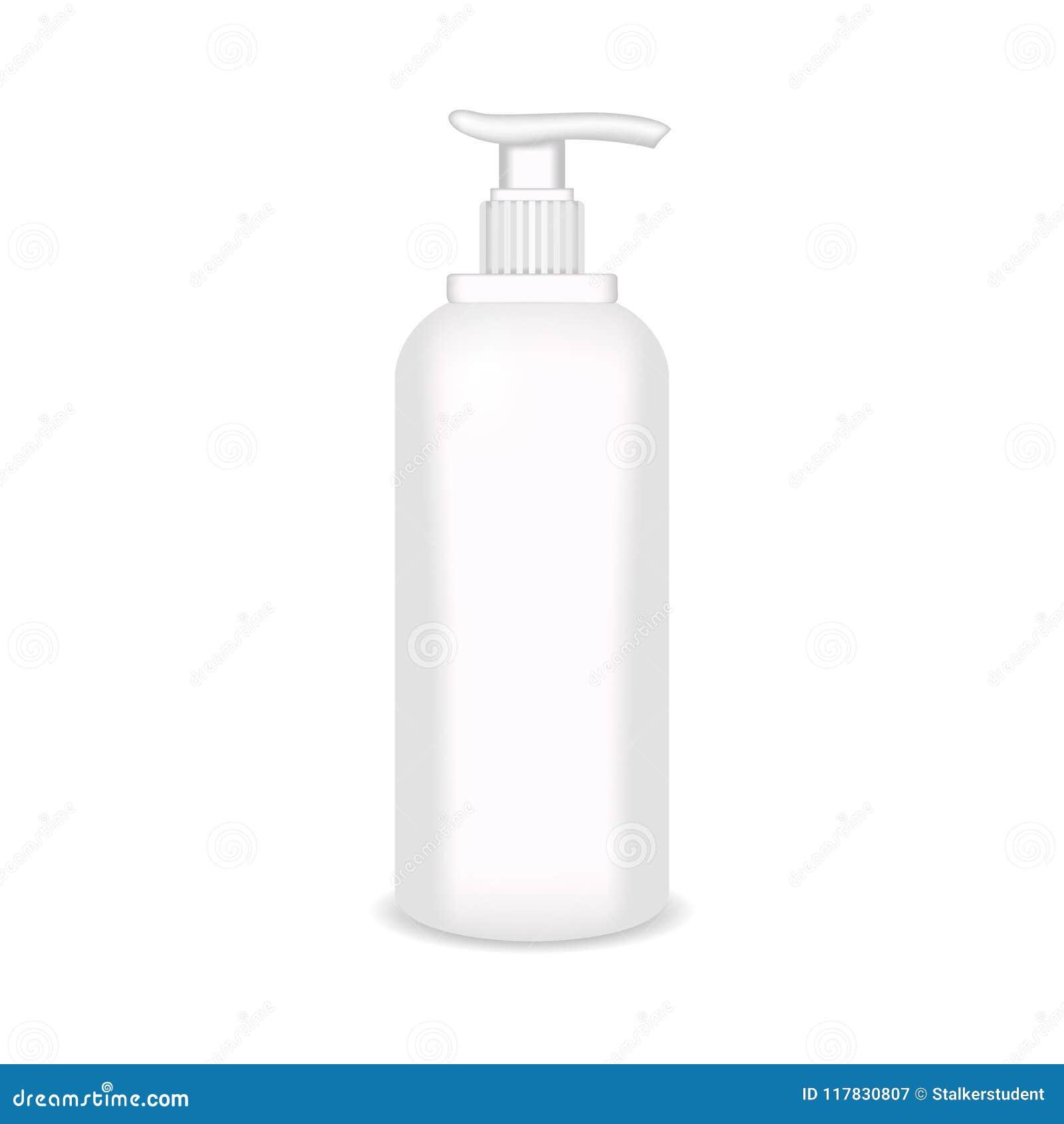 Den vita glansiga plast- flaskan för schampo, dusch stelnar, lotion, kropp mjölkar, badar skum Realistisk förpackande modellmall