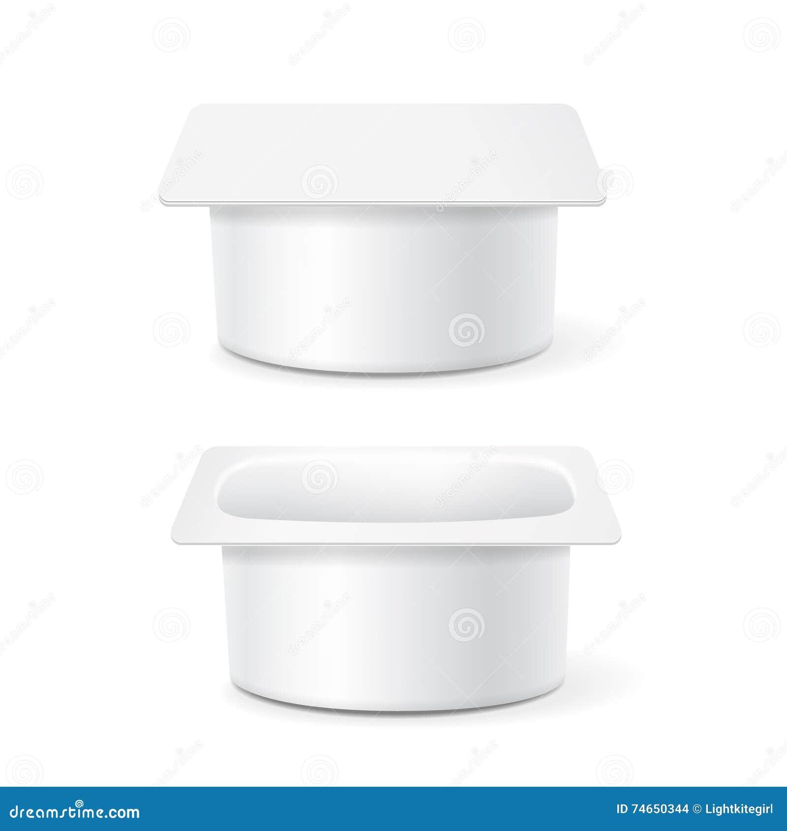 Den vita koppen badar den plast- behållaren för mat för efterrätten, yoghurten, glass, illustration på vit bakgrund