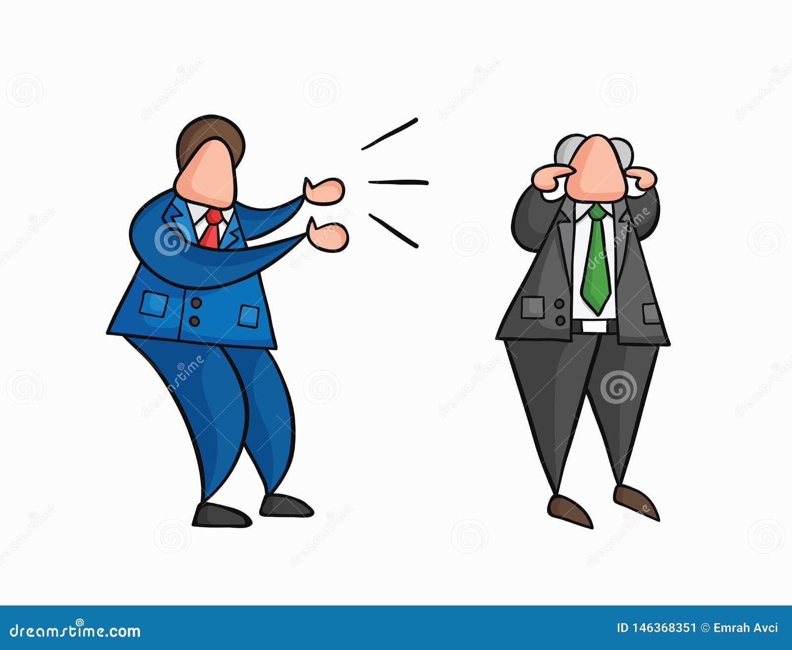 Dendrog ilskna affärsmanarbetaren för vektorn som skriker på framstickandet och framstickandet, stänger hans öron