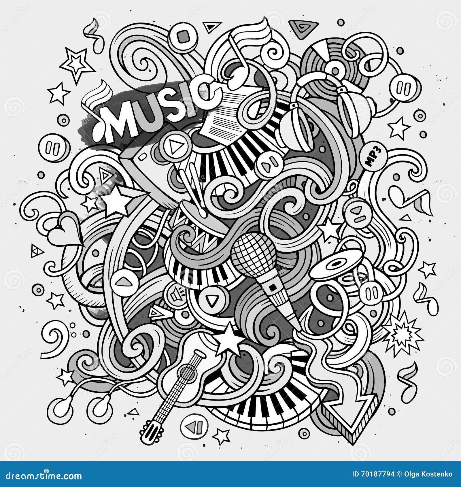 Dendrog tecknade filmen klottrar den musikaliska illustrationen