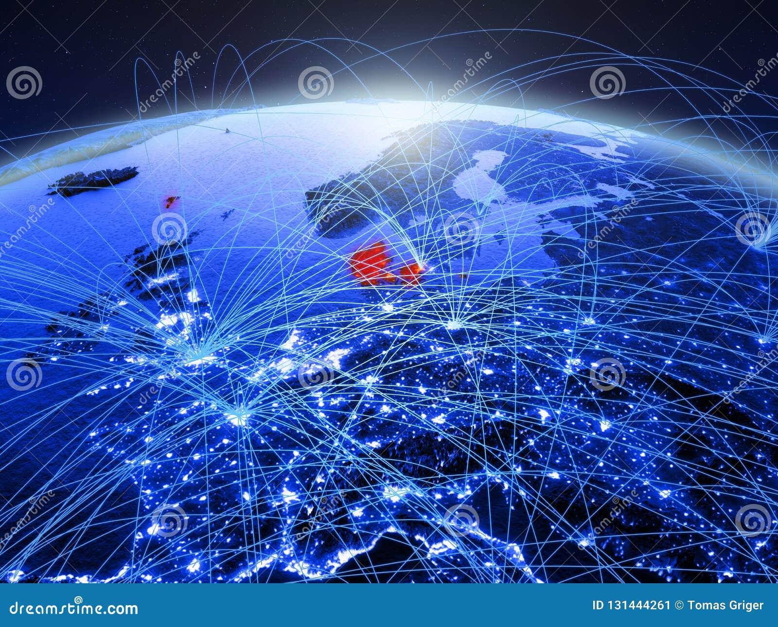 Denemarken op blauwe digitale aarde met internationaal netwerk die mededeling, reis en verbindingen vertegenwoordigen 3d