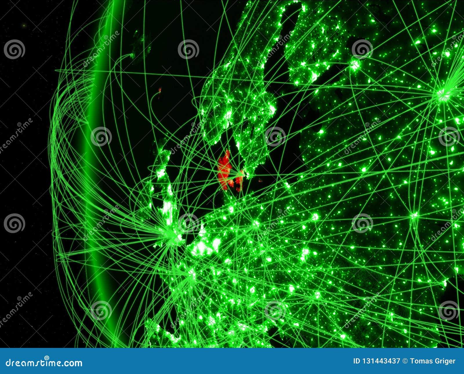Denemarken van ruimte op groen model van Aarde met internationale netwerken Concept groene mededeling of reis 3D Illustratie
