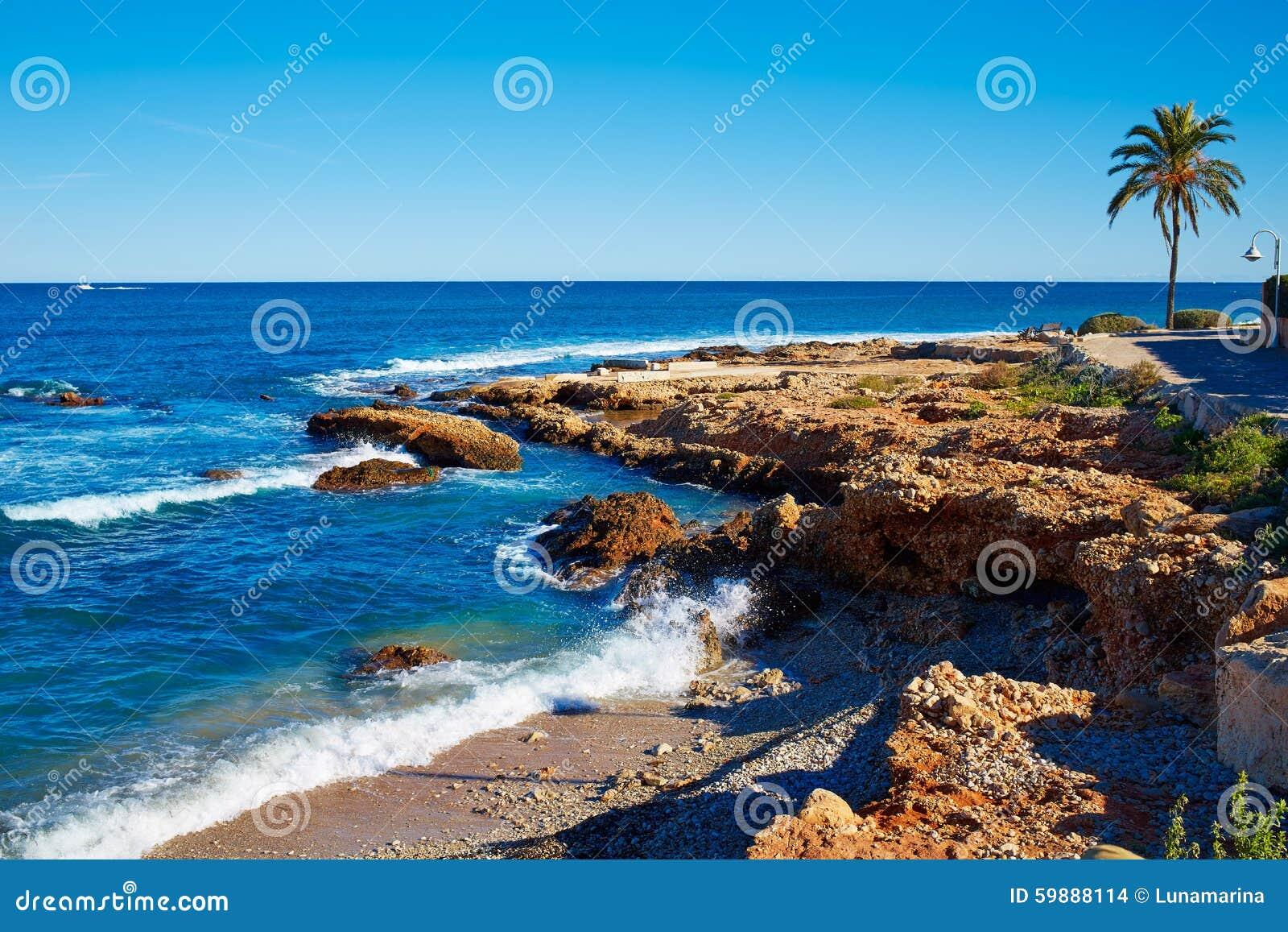 denia las rotas rotes beach in alicante mediterranean stock photo