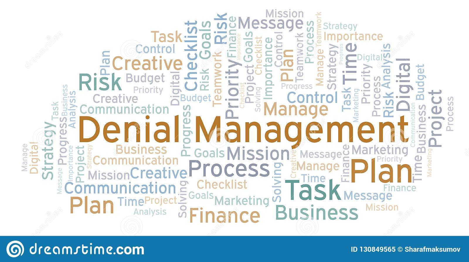 Denial Management word cloud, made with text only.