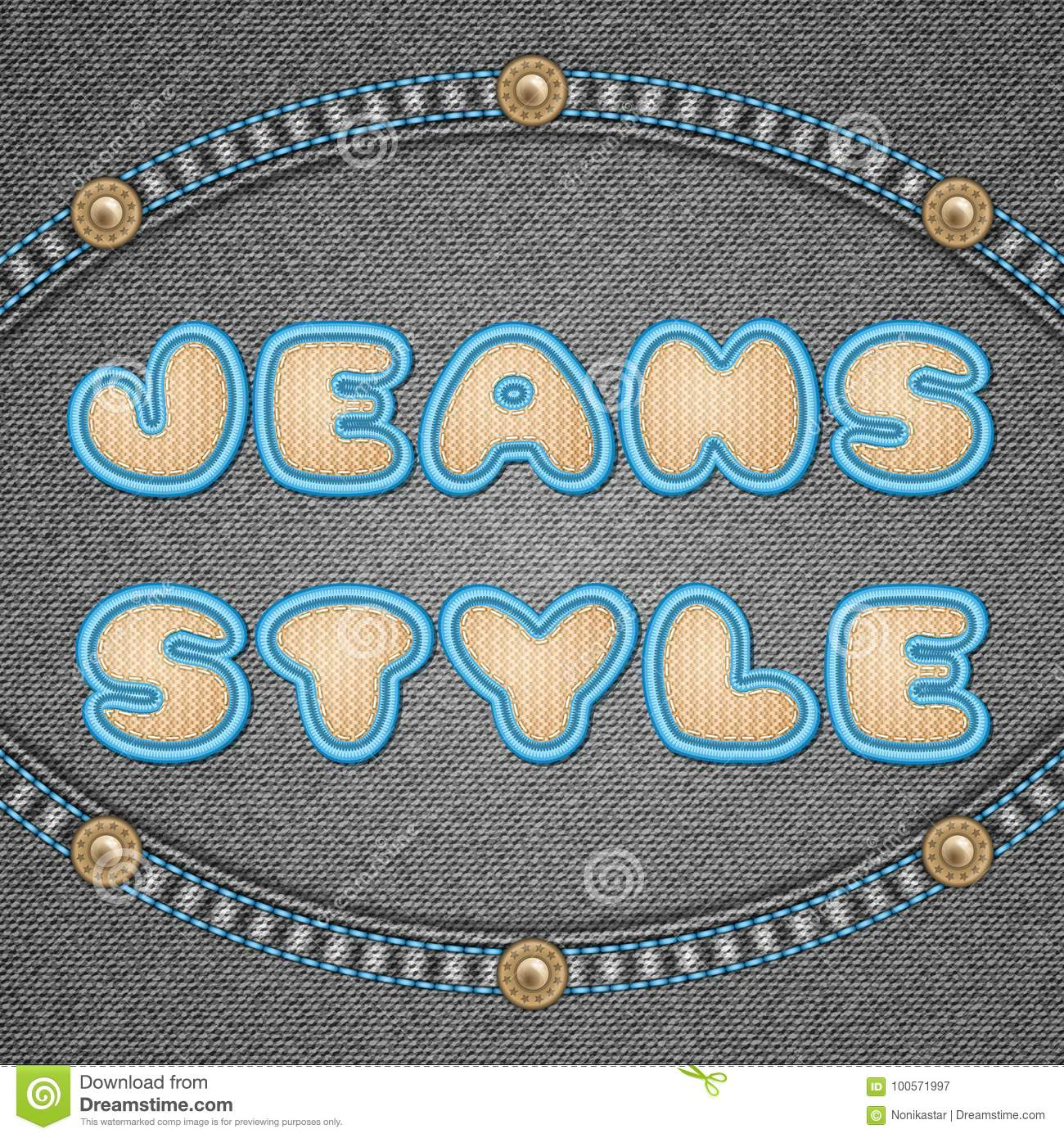 Denim Background With Embroidery Stock Vector