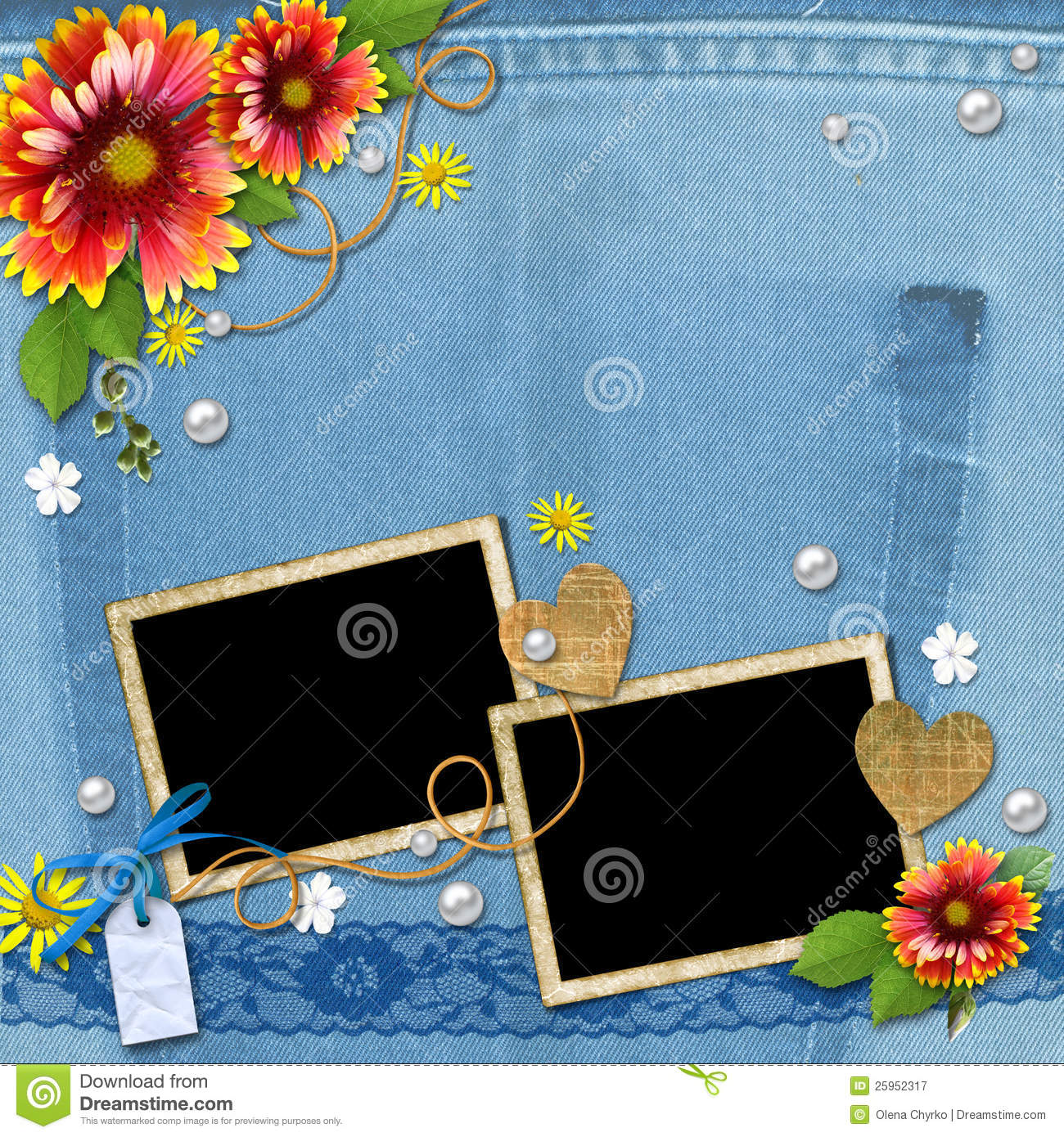 denim background with frame  flowers  lace and pea royalty