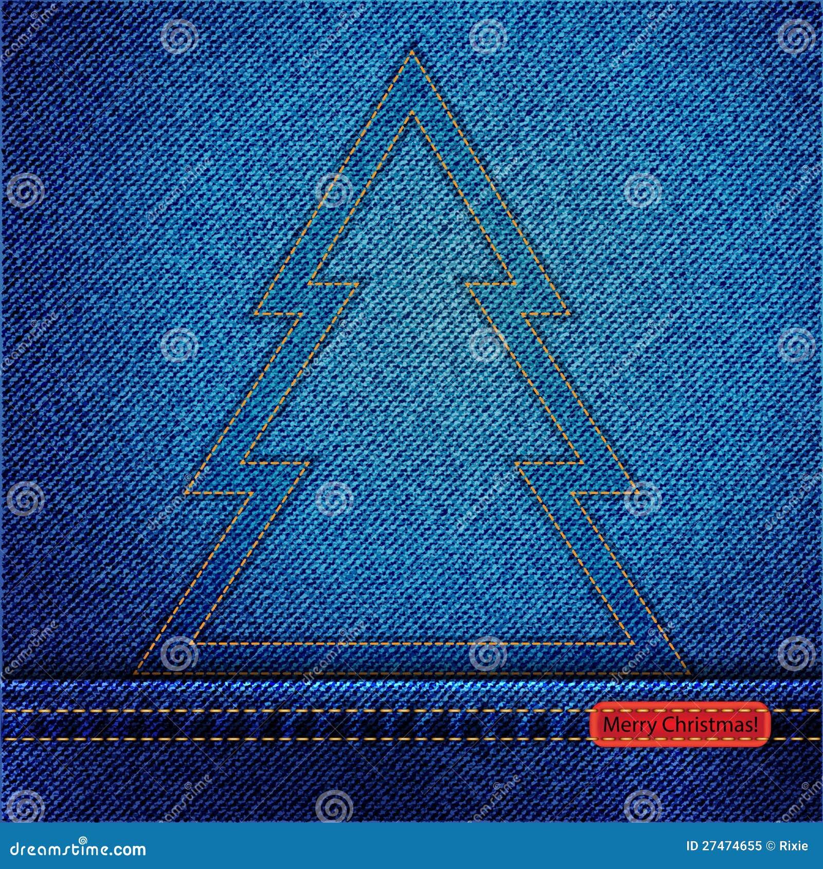 Christmas Tree Outlines Denim christmas tree outline