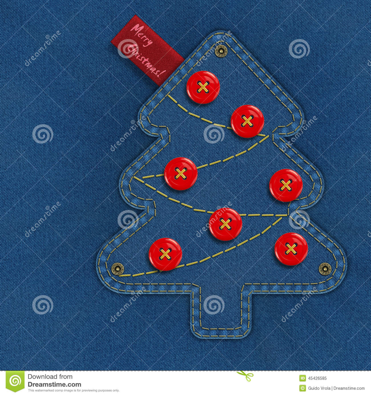 denim christmas tree stock illustration. illustration of lettering