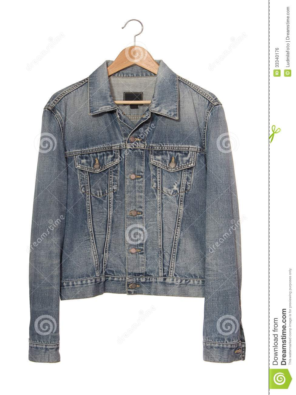Denim Jacket On Coat-hanger Royalty Free Stock Image - Image: 33340176