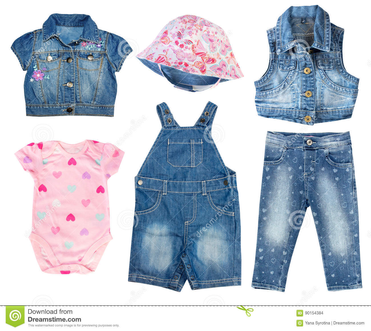 51c5433a0a5 Denim Jean Baby Toddler Summer Clothes Set Isolated. Stock Photo ...