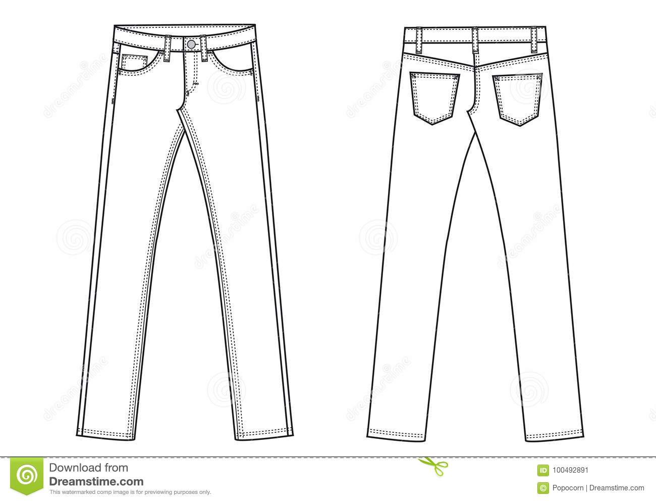 denim jeans trousers ants template sketch stock vector