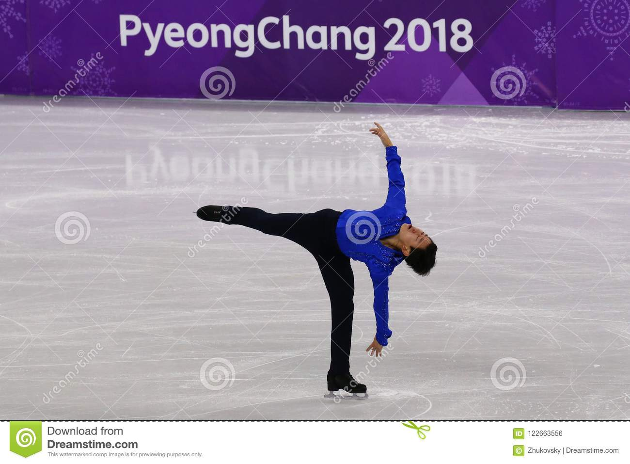Denis Ten of Kazakhstan performs in Men Single Skating Short Program at the 2018 Winter Olympic Games