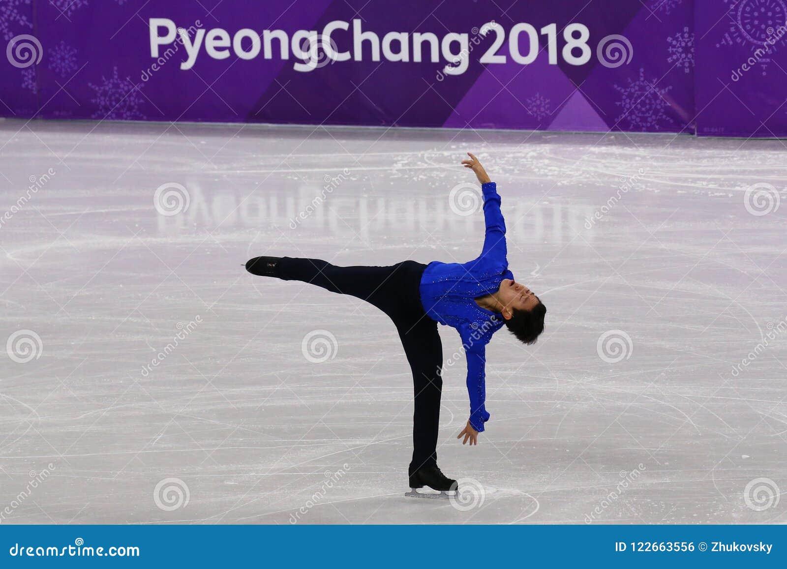 Denis Ten von Kasachstan führt in Männer-Einzel-eislaufendem kurzem Programm an der 2018 Winterolympiade durch
