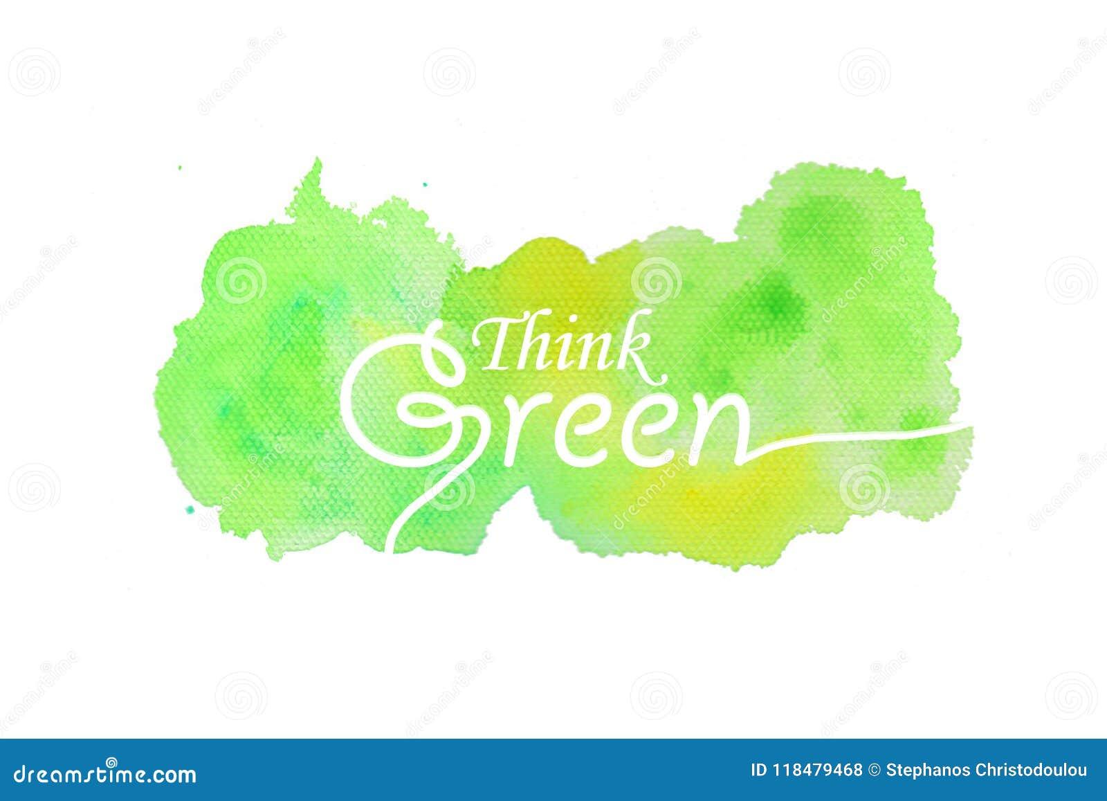 Denk Groene Teksten met Waterverfachtergrond