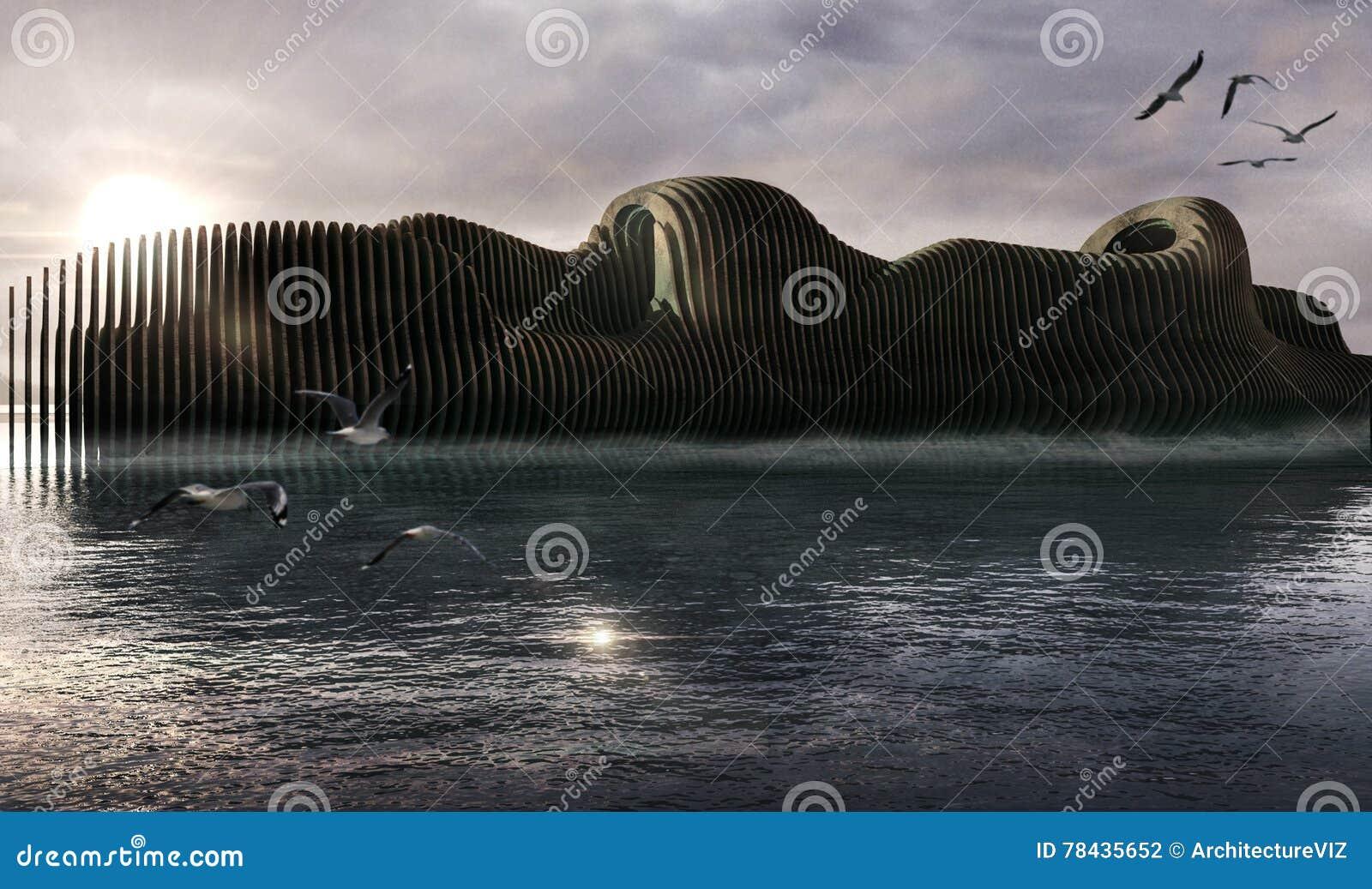 Denkbeeldige boot, zonsondergang overzees landschap