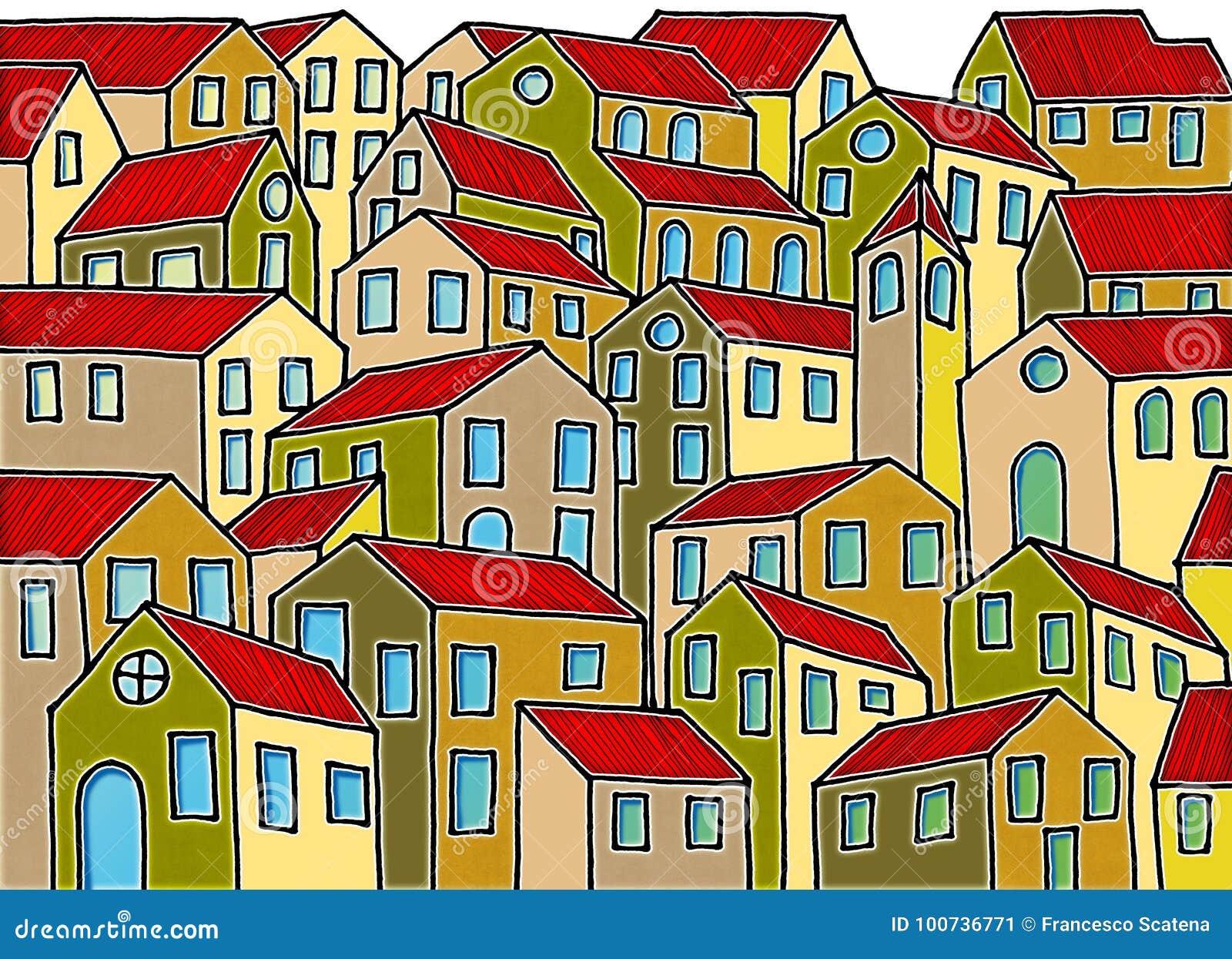Denkbeeldige die stad door de oude Toscaanse die steden wordt geïnspireerd - I ` m de auteursrechteigenaar van de graffitibeelden