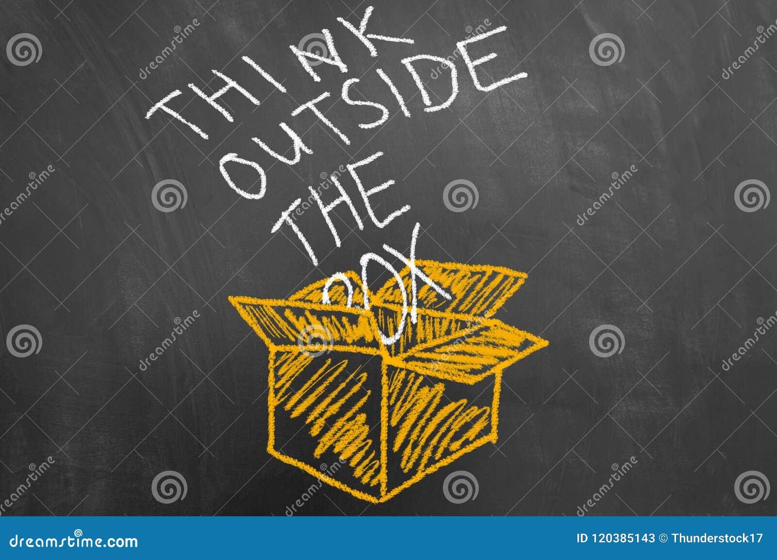 Denken Sie außerhalb des Kastenkonzeptes mit Text auf Tafel