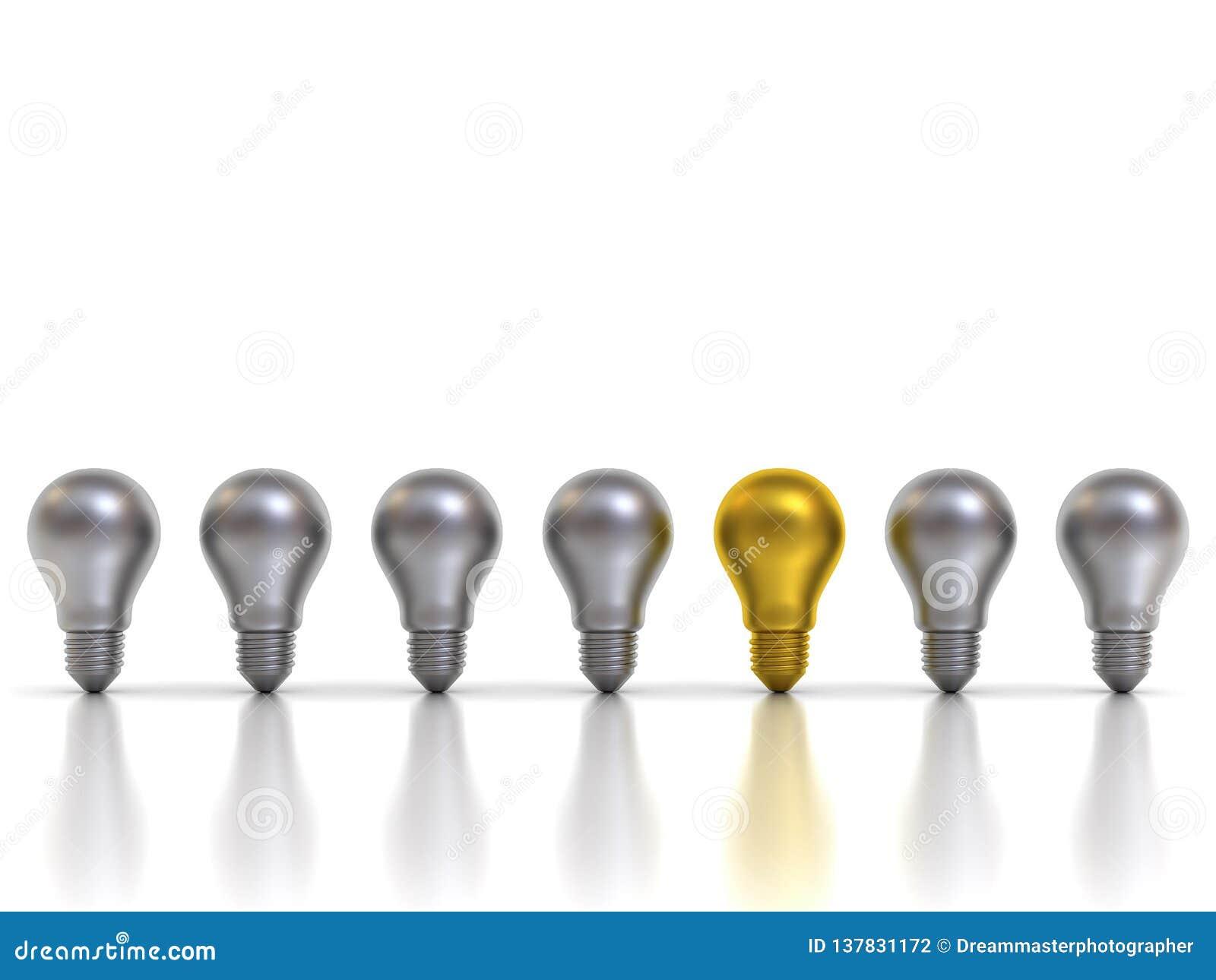 Denken Sie die Glühlampe der unterschiedlichen des Konzeptes eins Idee Gold, dieheraus von den silbernen Metallbirnen mit Reflexi