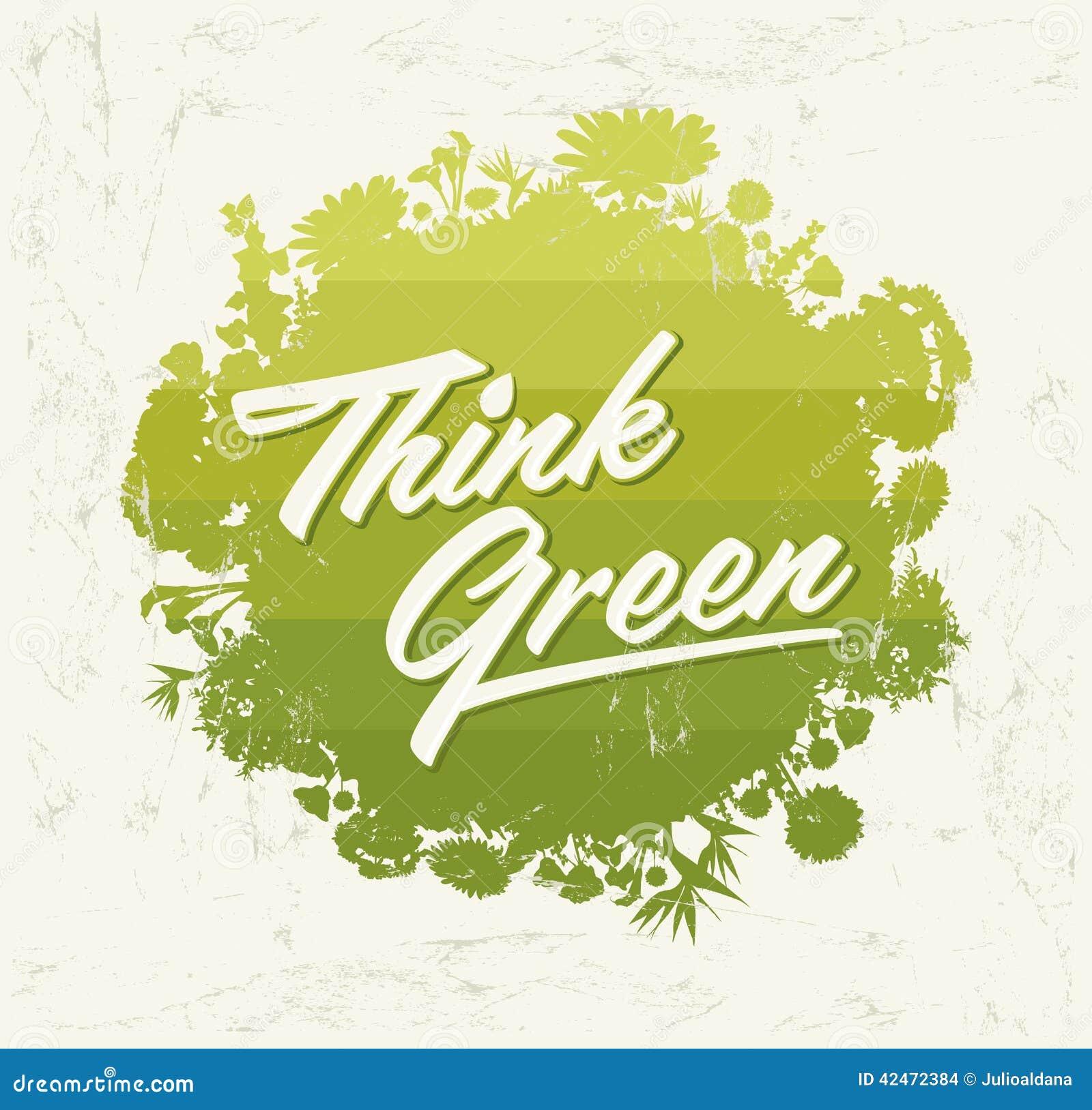 Denken Sie Grünes - organischer Biobereich des kreativen Eco-Vektor-Gestaltungselements mit Vegetation