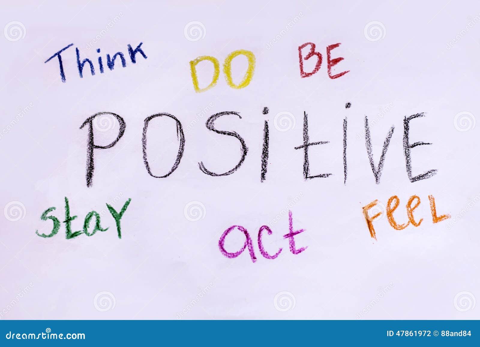 Denken Sie, tun, zu sein, zu bleiben, zu fungieren, positiv sich zu fühlen Motivslogan