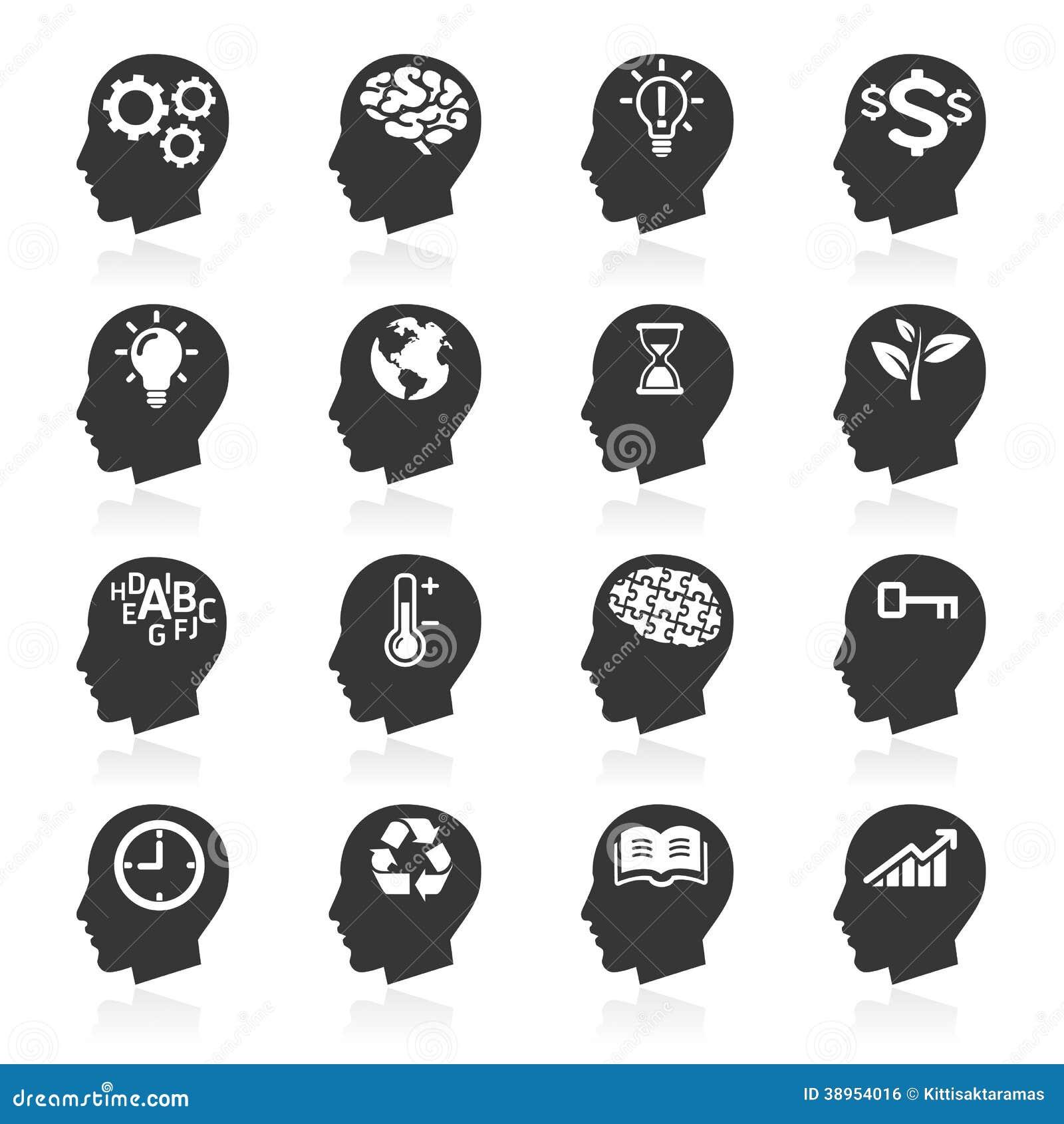 Denkende Kopf-Ikonen für Geschäft.