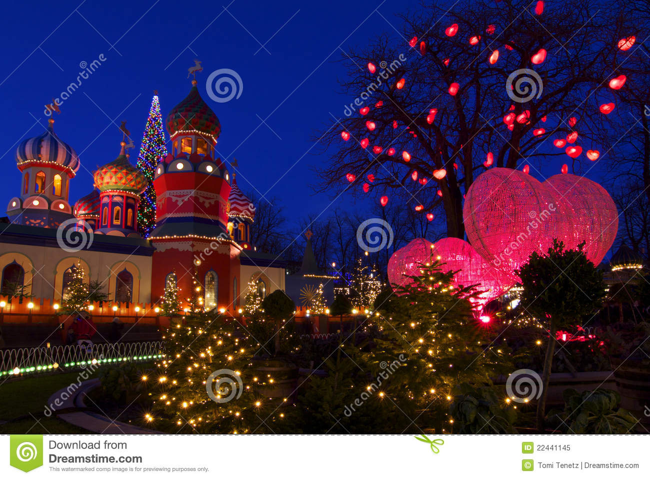 Denmark: Christmas Atmosphere In Tivoli Royalty Free Stock Photo ...