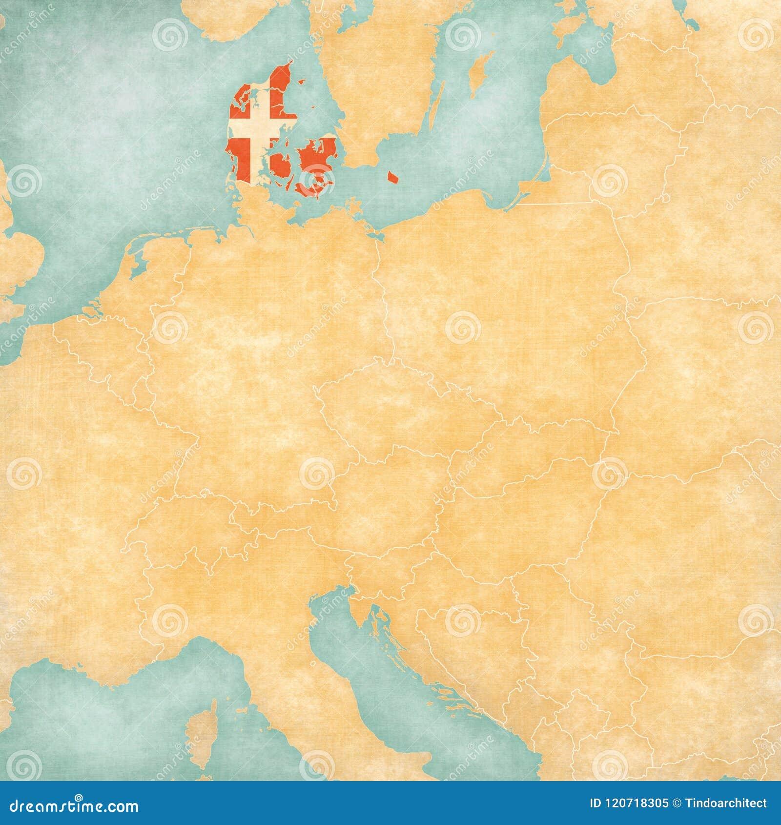 Map Of Central Europe - Denmark Stock Illustration - Illustration of ...