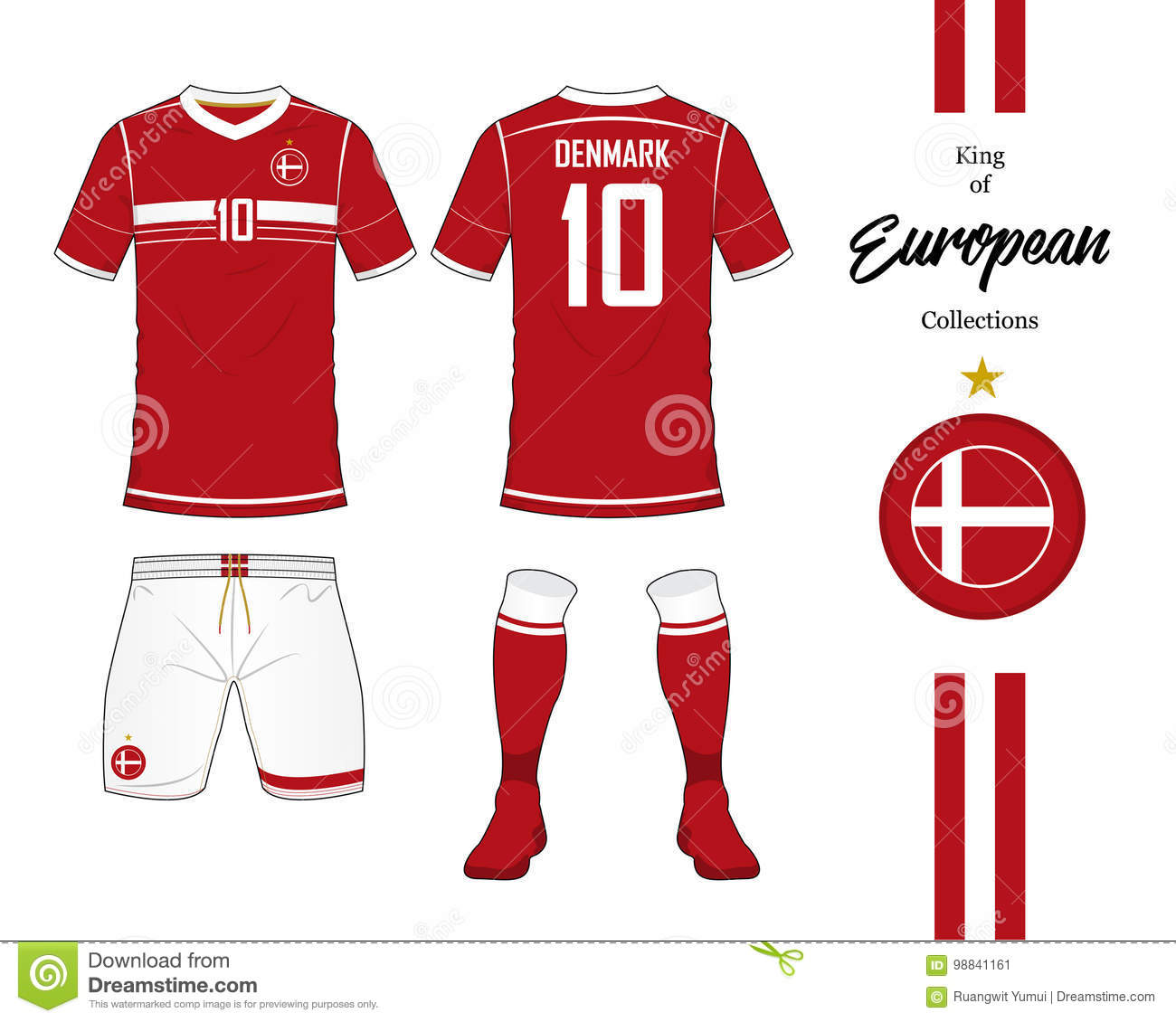 separation shoes bbbce 5e8e5 Denmark Football National Team Uniform. Stock Vector ...