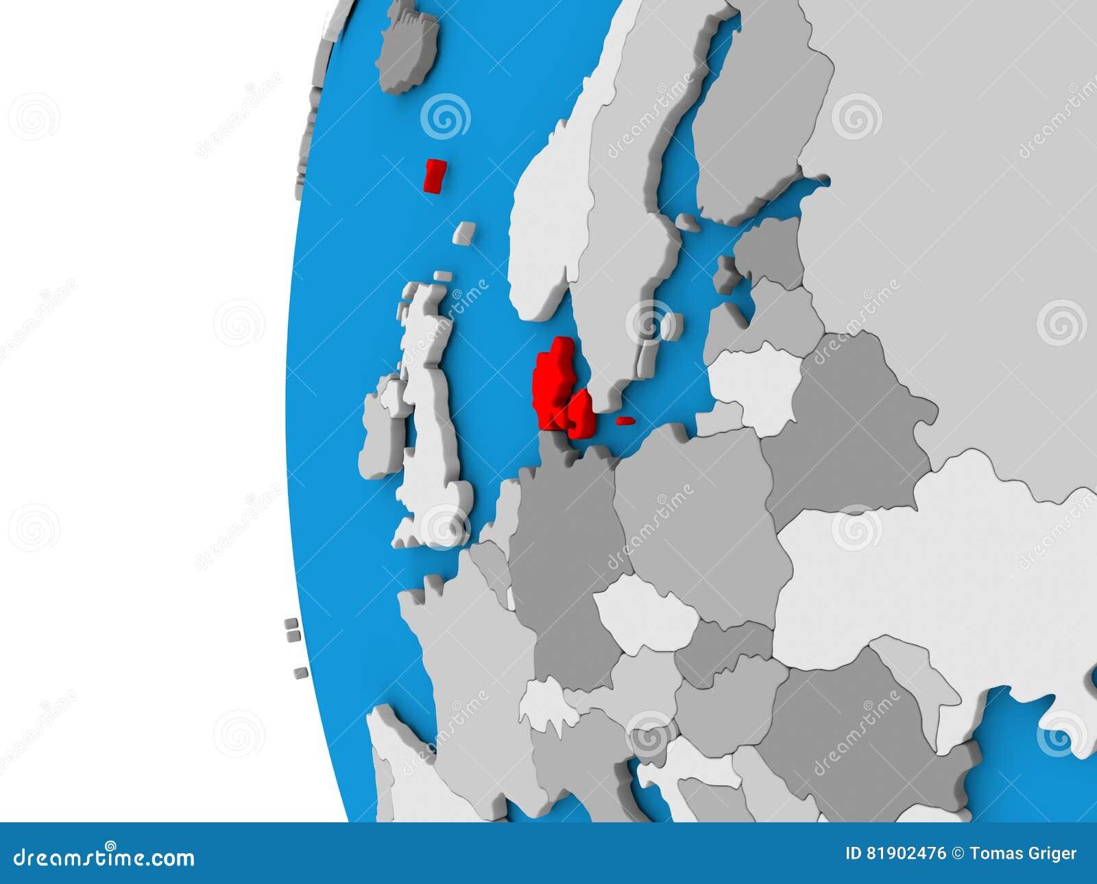 denmark on globe in red stock illustration image of national